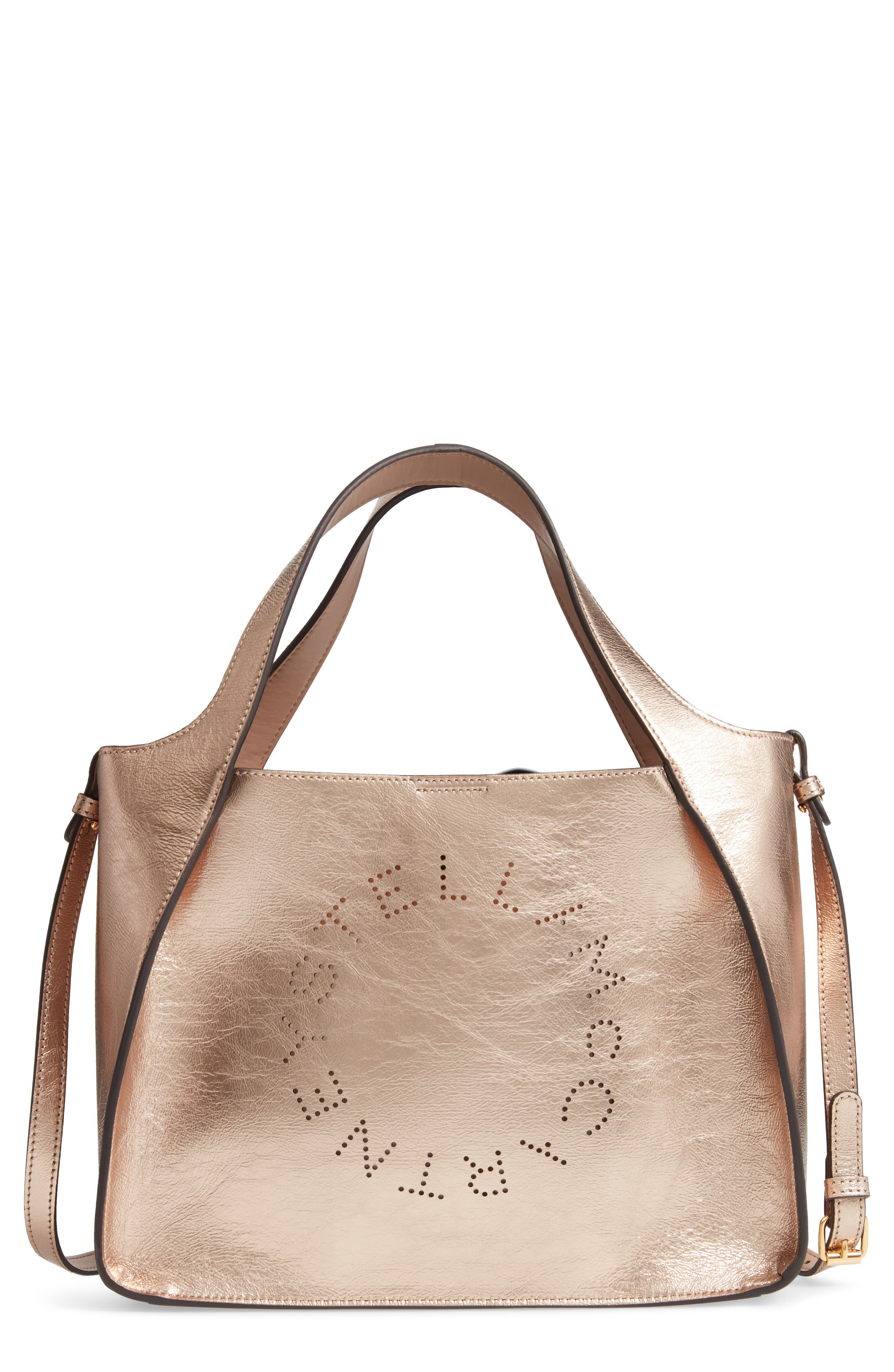 STELLA MCCARTNEY Perforated Logo Metallic Faux Leather Satchel, Main, color, ROSE GOLD