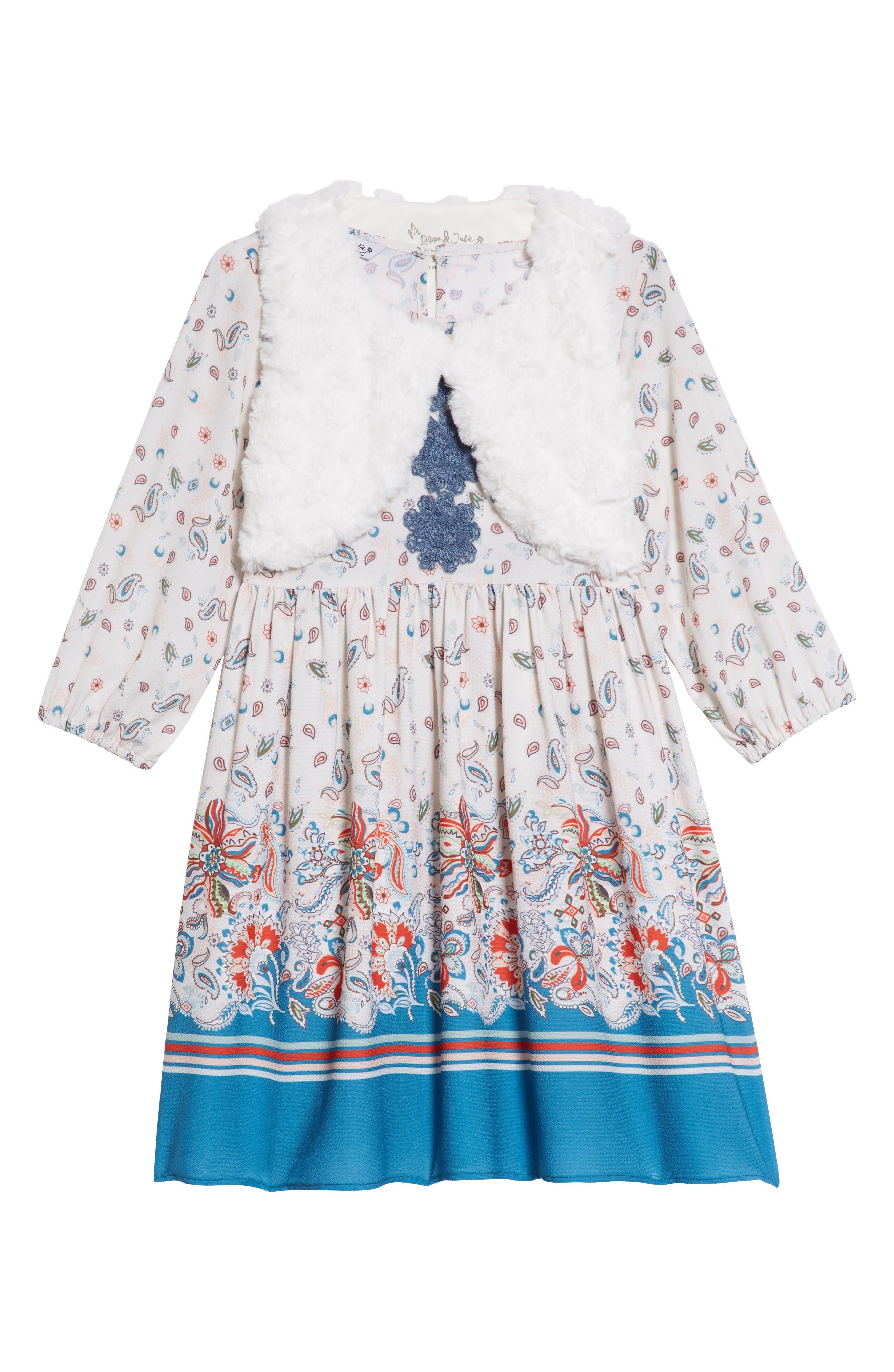 PIPPA & JULIE, Boho Paisley Dress & Faux Fur Vest Set, Main thumbnail 1, color, 900