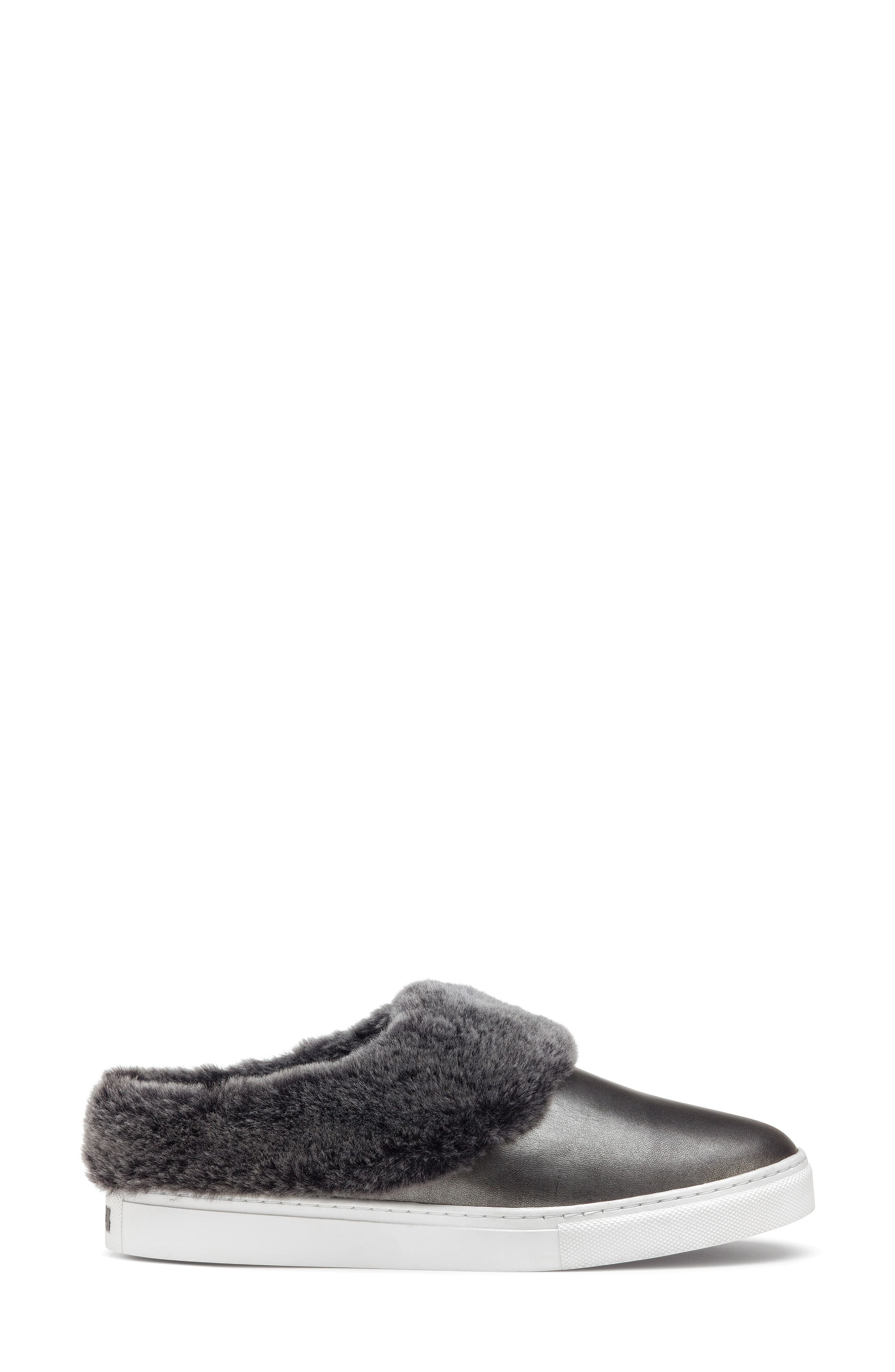 TRASK, Lisa Genuine Shearling Trim Slip-On Sneaker, Alternate thumbnail 3, color, PEWTER LEATHER
