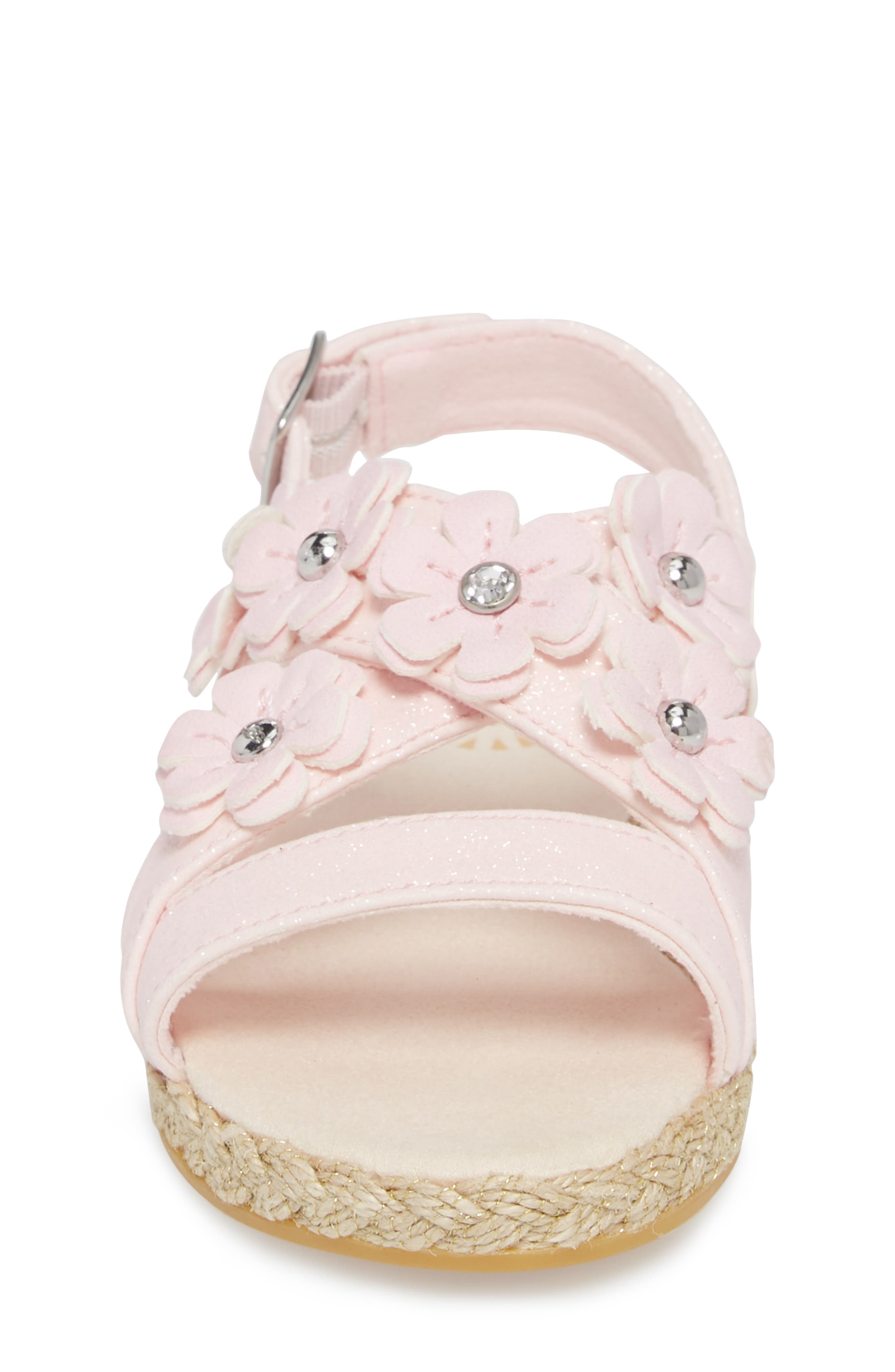 UGG<SUP>®</SUP>, Allairey Sparkles Espadrille Sandal, Alternate thumbnail 4, color, SEASHELL PINK