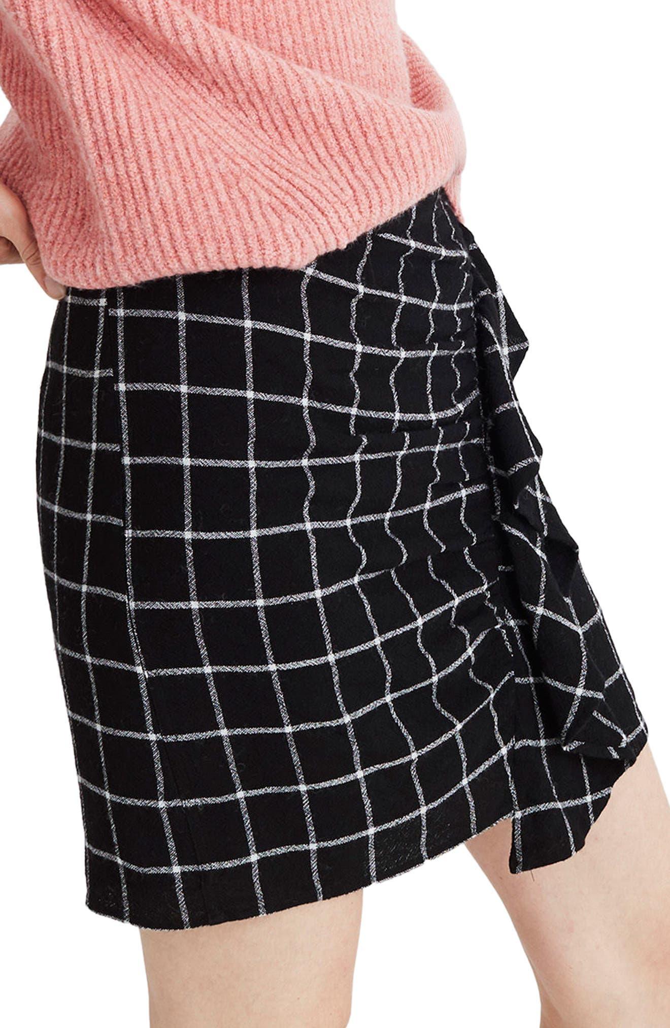 MADEWELL, Windowpane Ruffle Front Miniskirt, Alternate thumbnail 3, color, 009