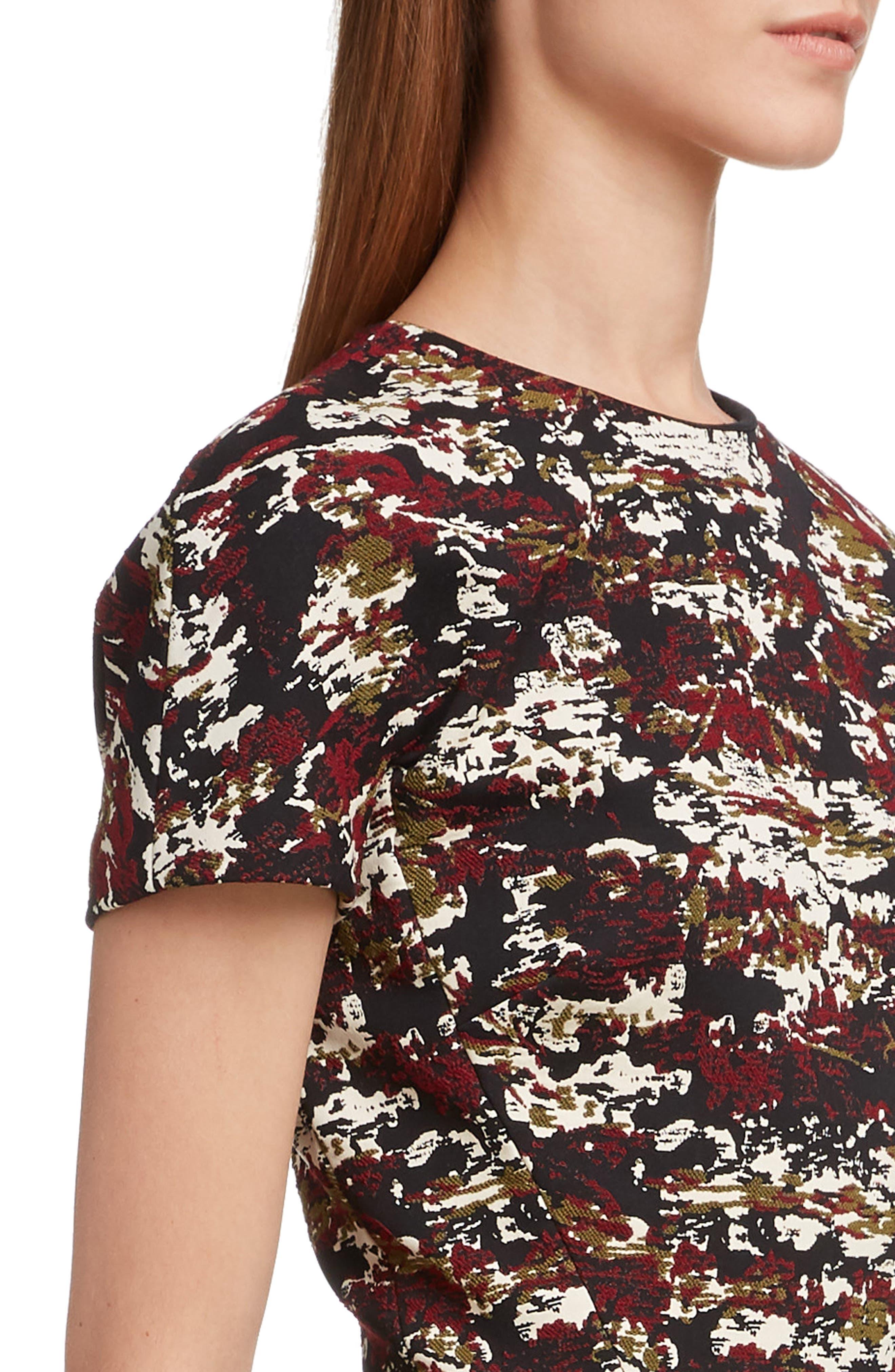 VICTORIA BECKHAM, Camouflage Jacquard Dress, Alternate thumbnail 4, color, BORDEAUX-BLACK