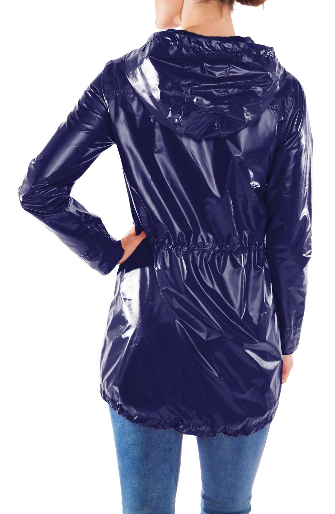 MODERN ETERNITY, Waterproof Convertible 3-in-1 Maternity Raincoat, Alternate thumbnail 9, color, BRIGHT NAVY