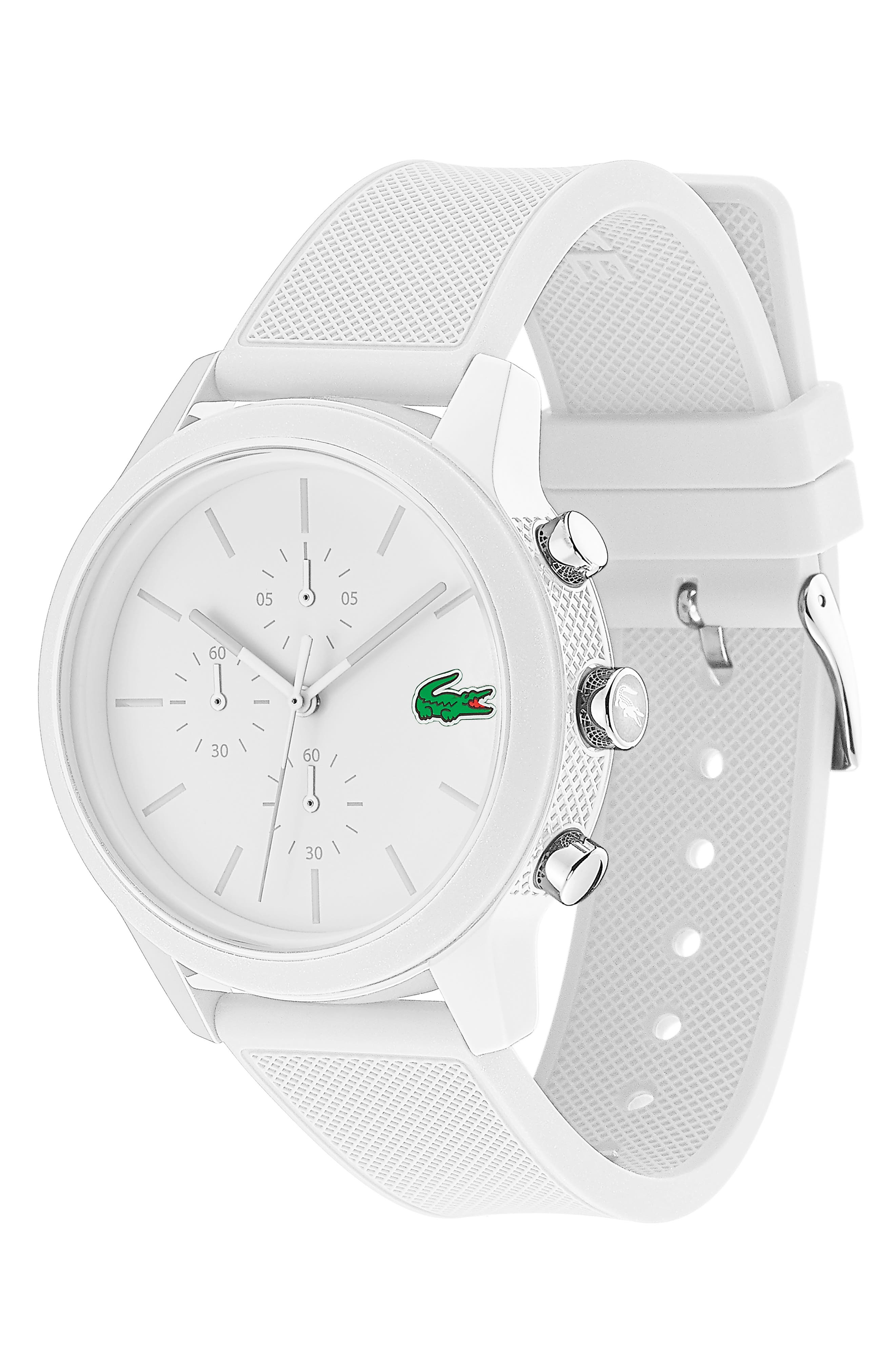 LACOSTE, 12.12 Chronograph Silicone Band Watch, 44mm, Alternate thumbnail 3, color, WHITE