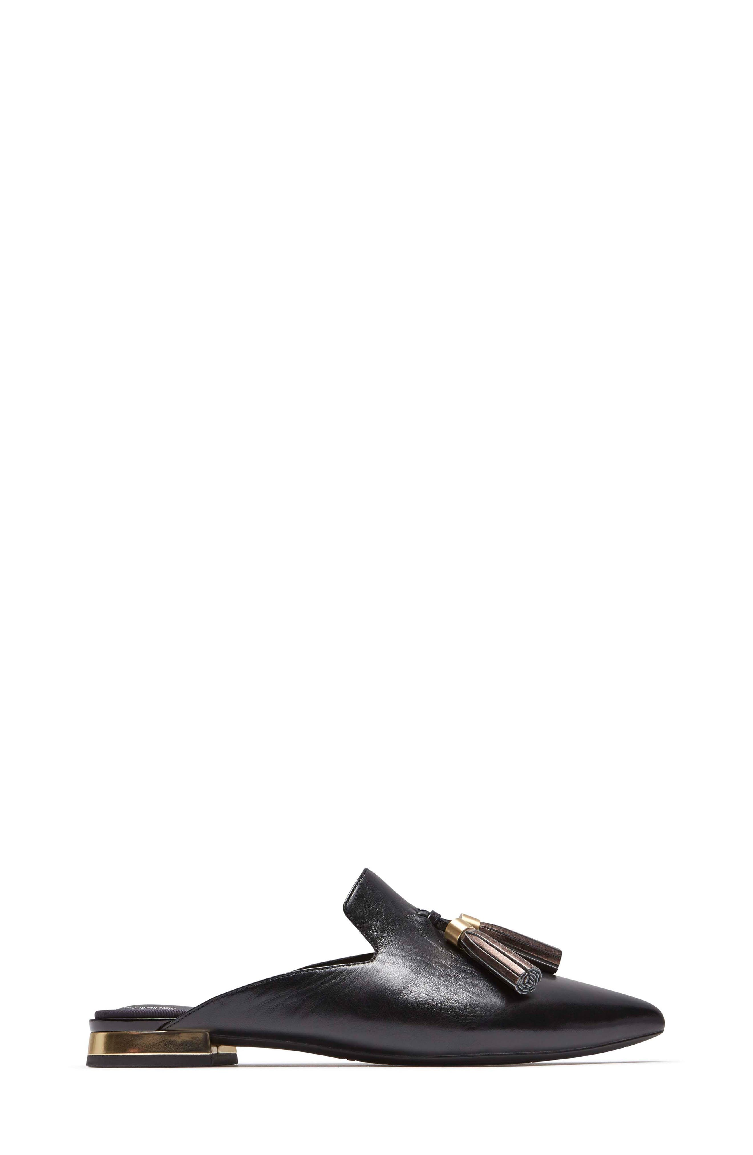 ROCKPORT, Total Motion Zuly Tassel Mule, Alternate thumbnail 3, color, BLACK LEATHER