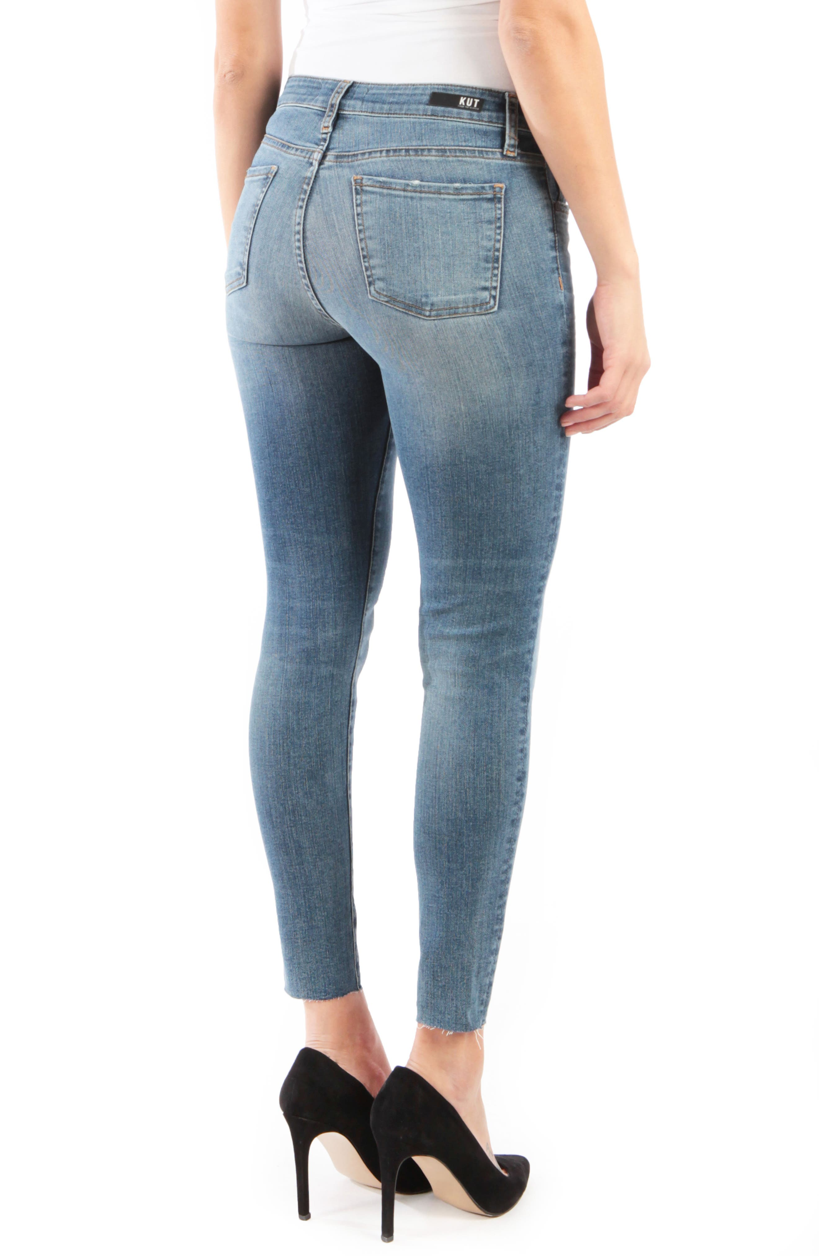 KUT FROM THE KLOTH, Donna High Waist Raw Hem Skinny Jeans, Alternate thumbnail 2, color, PHILOSOPHICAL