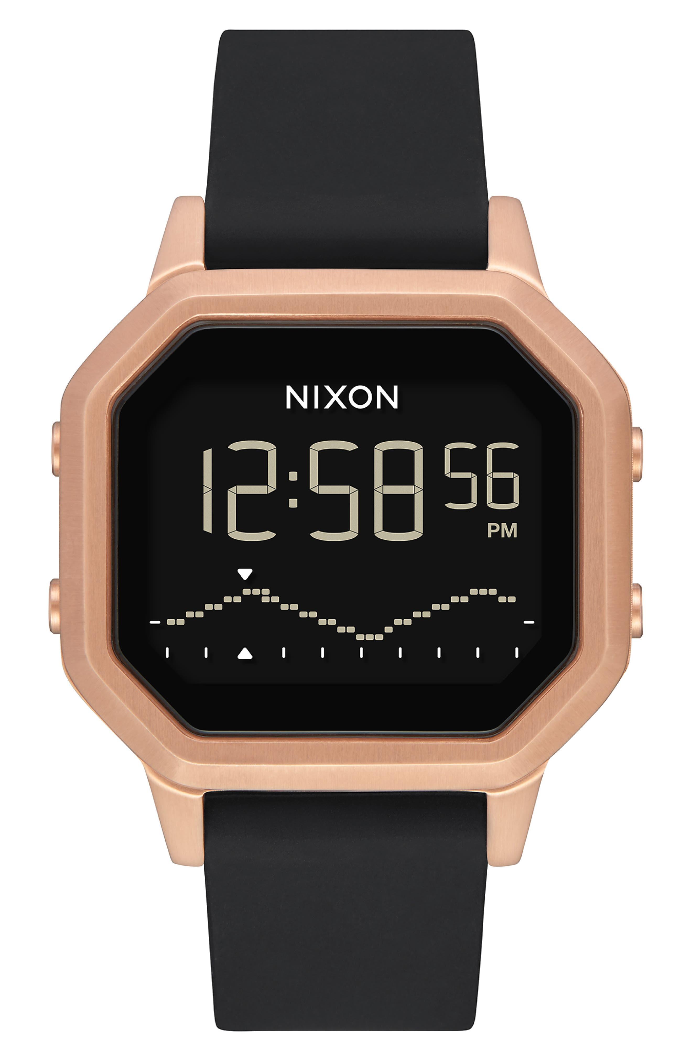 NIXON Siren Digital Watch, 36mm, Main, color, BLACK/ ROSE GOLD