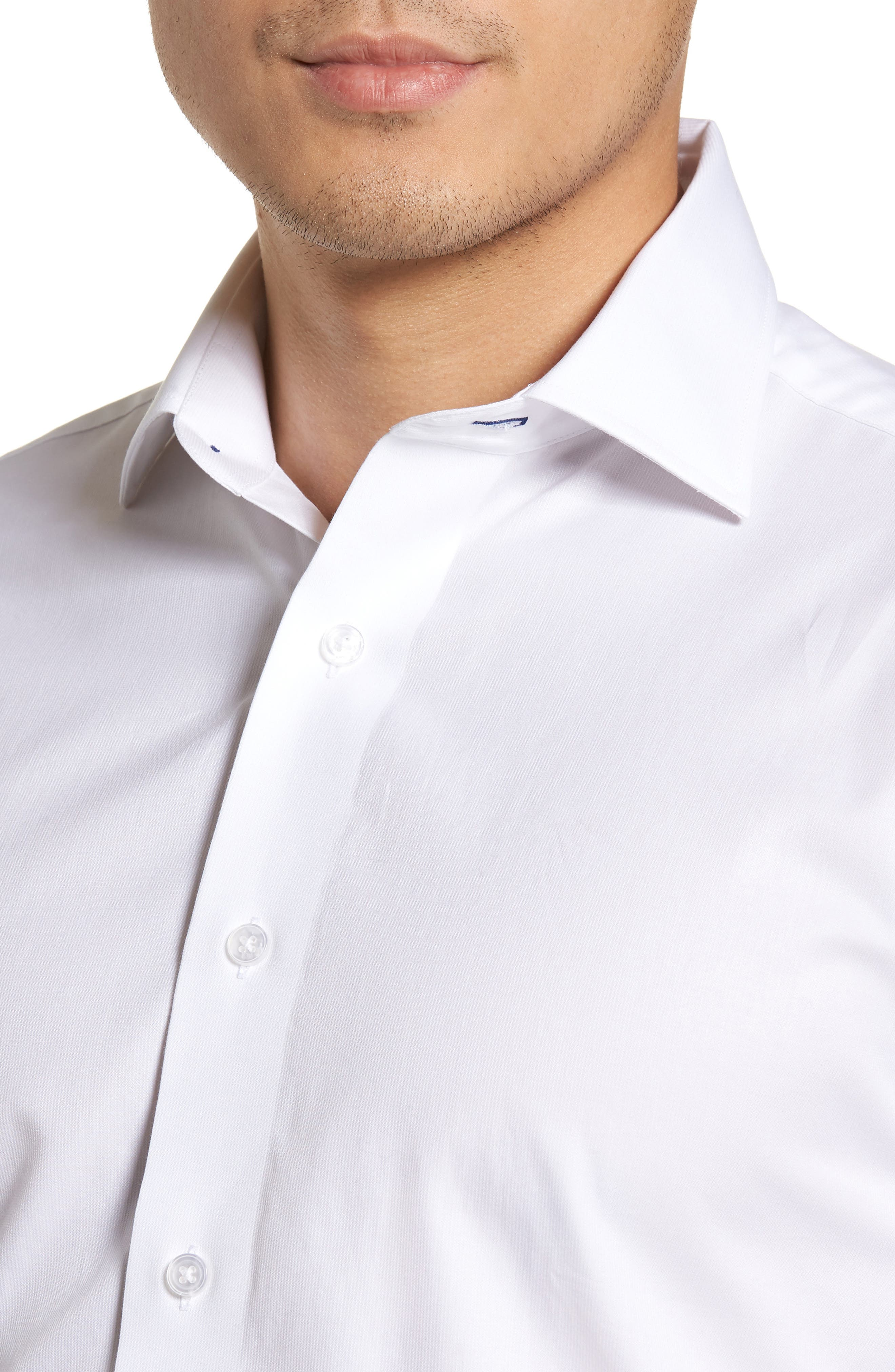 LORENZO UOMO, Trim Fit Solid Dress Shirt, Alternate thumbnail 2, color, WHITE