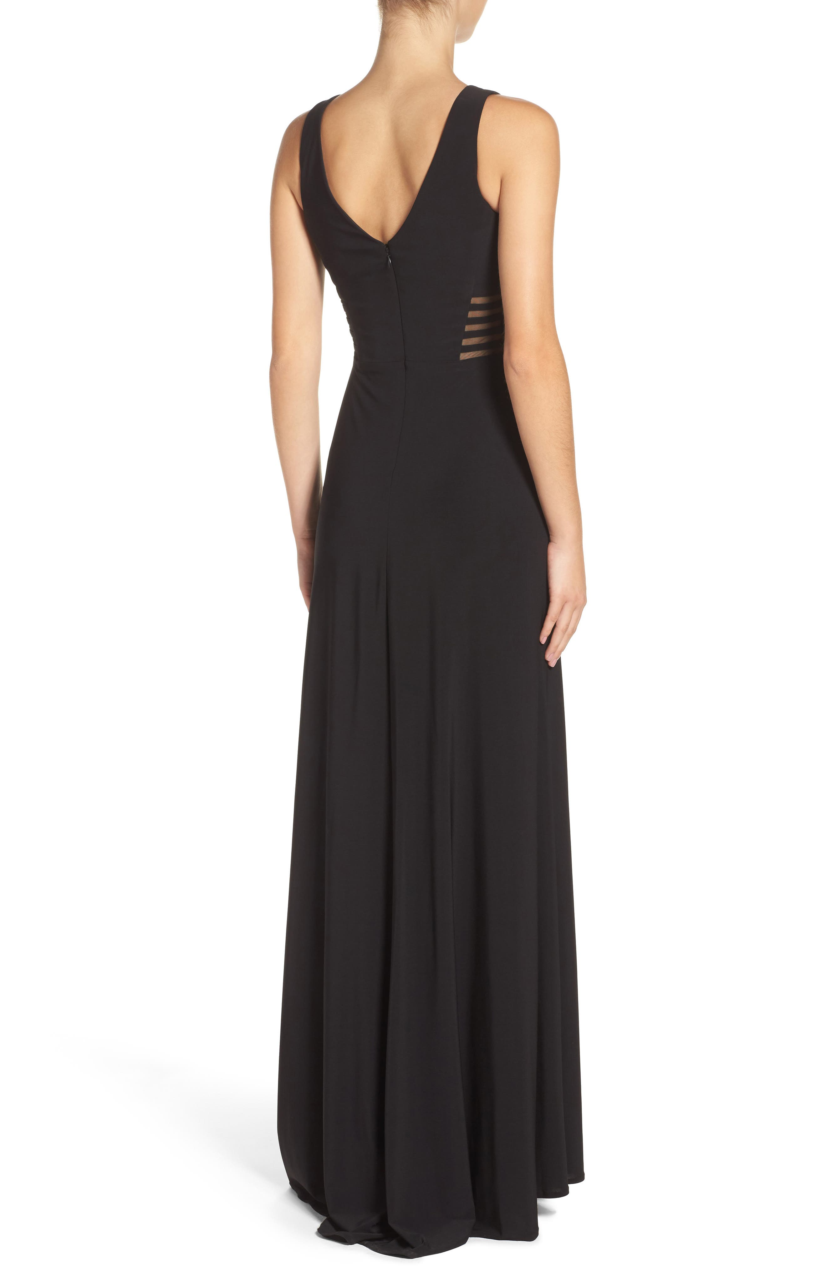 MORGAN & CO., Illusion Gown, Alternate thumbnail 2, color, BLACK