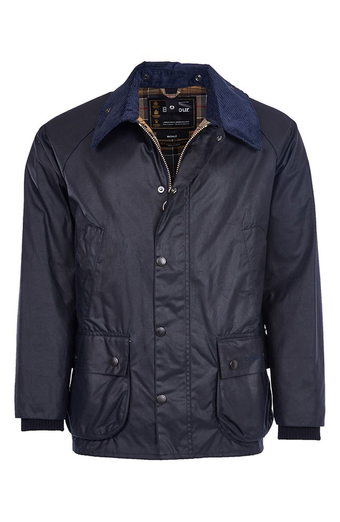 BARBOUR, 'Bedale' Regular Fit Waxed Cotton Jacket, Alternate thumbnail 5, color, NAVY