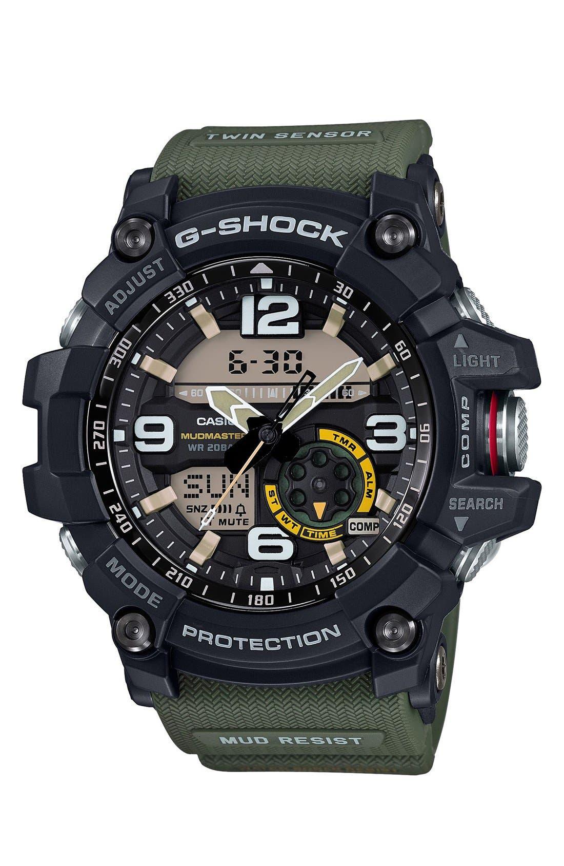 G-SHOCK BABY-G, G-Shock 'Mudmaster' Ana-Digi Watch, 56mm, Main thumbnail 1, color, BLACK