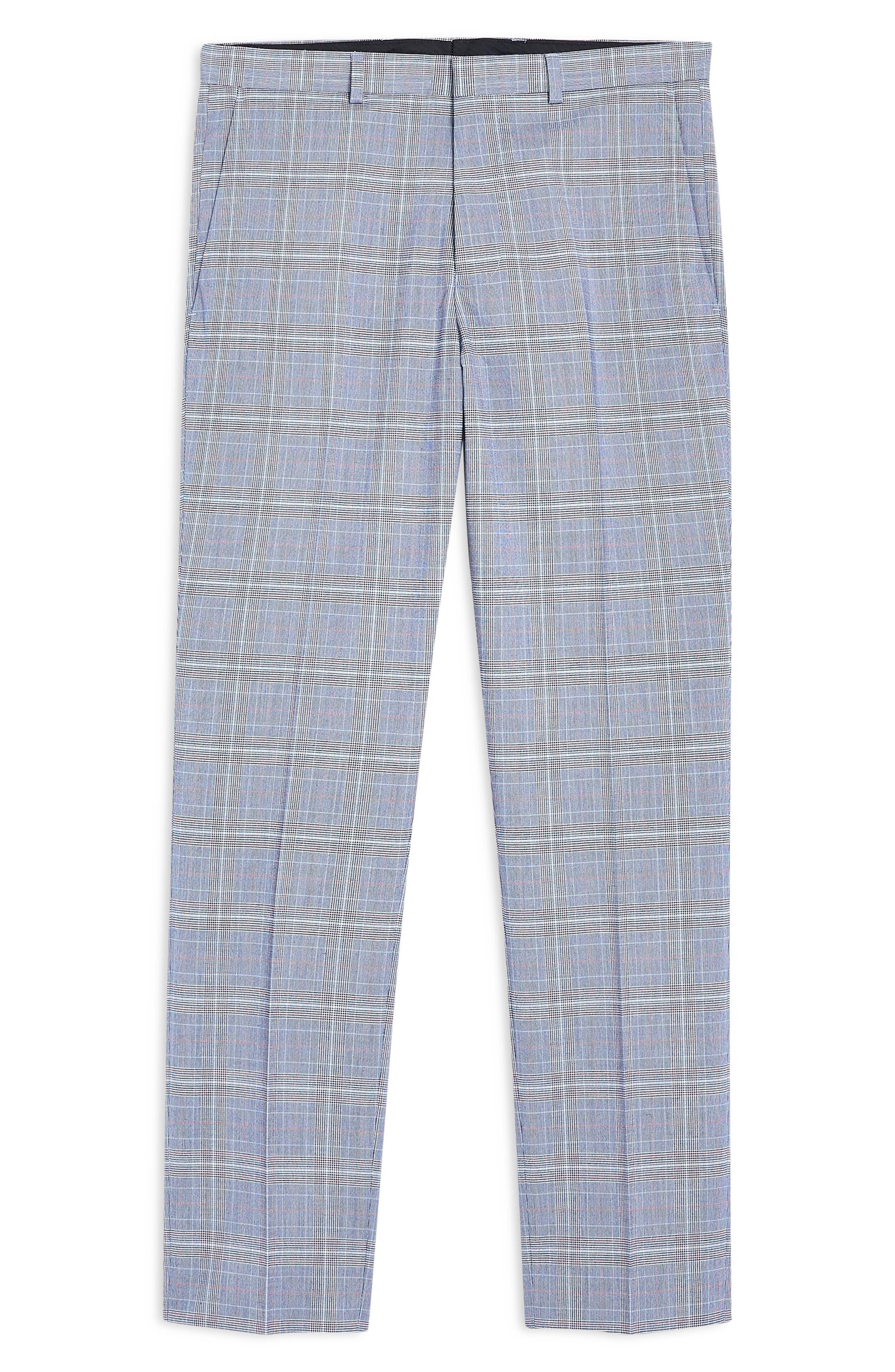 TOPMAN, Skinny Fit Plaid Trousers, Alternate thumbnail 5, color, BLUE MULTI