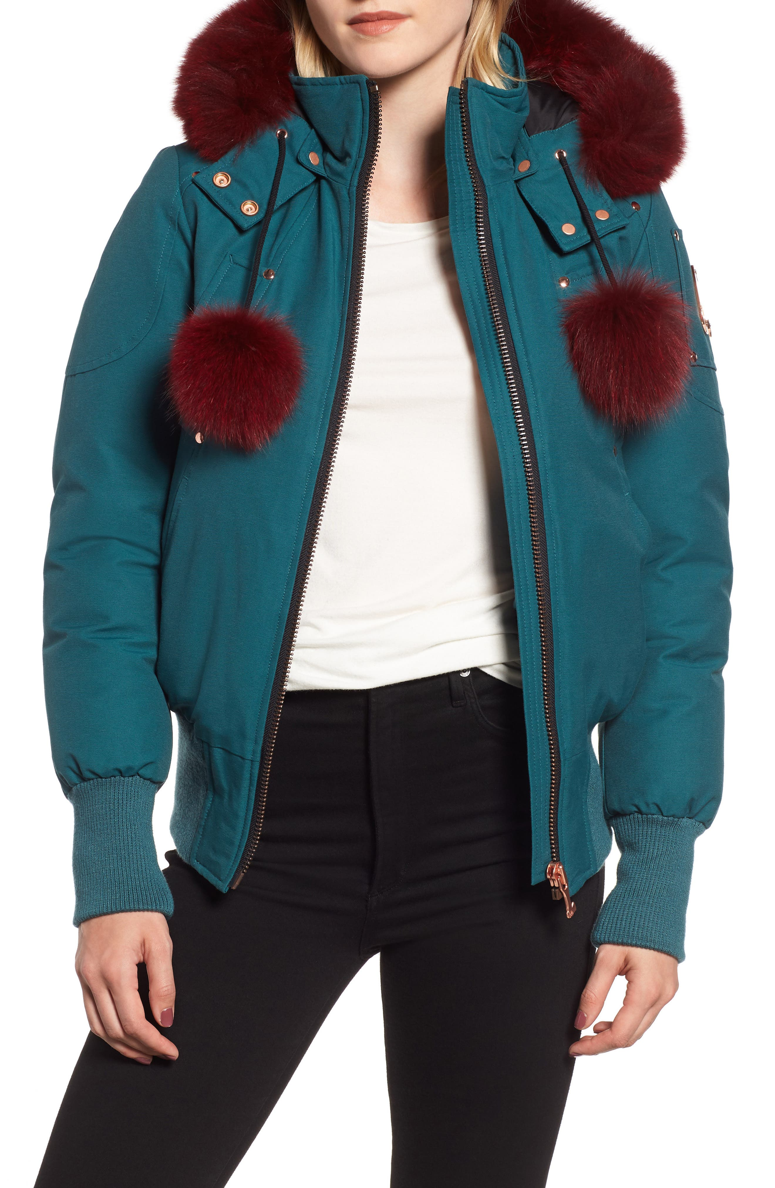 MOOSE KNUCKLES, Yorkdale Genuine Fox Fur Trim Down Jacket, Main thumbnail 1, color, 315