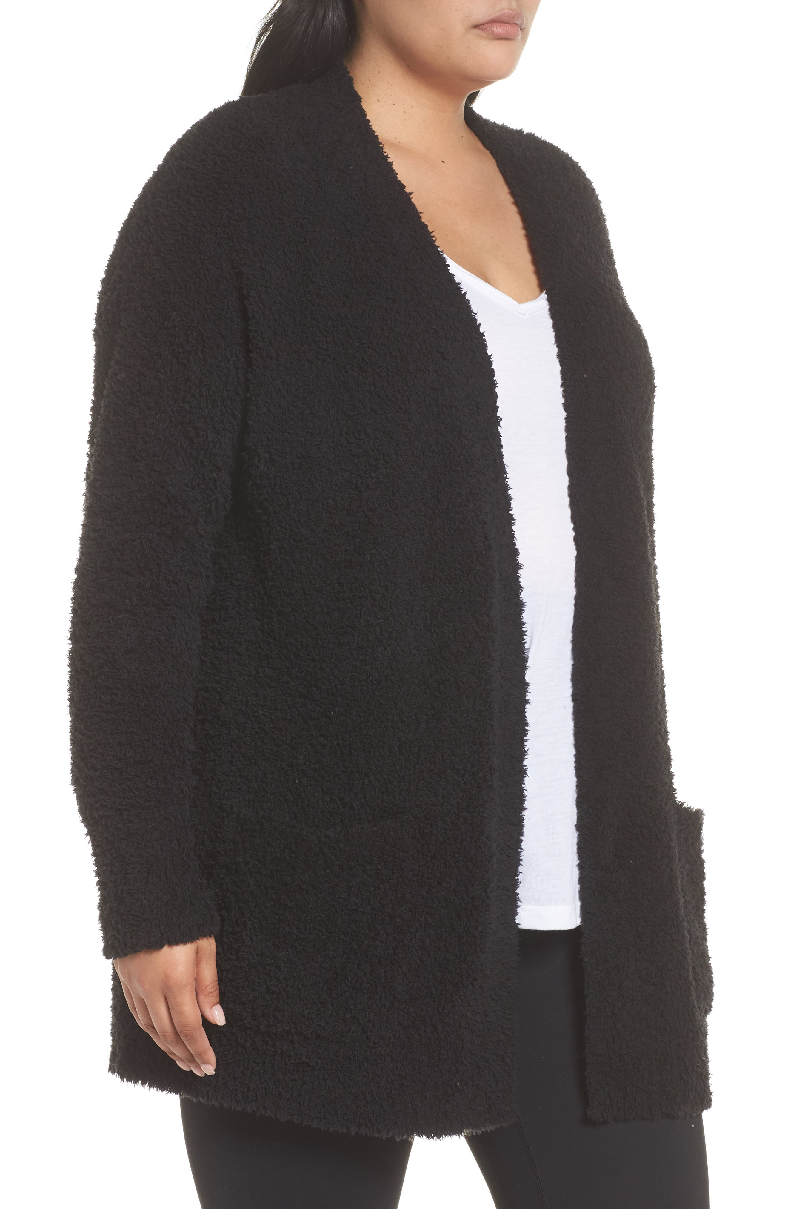 BAREFOOT DREAMS<SUP>®</SUP>, CozyChic<sup>®</sup> Cardigan, Alternate thumbnail 3, color, BLACK