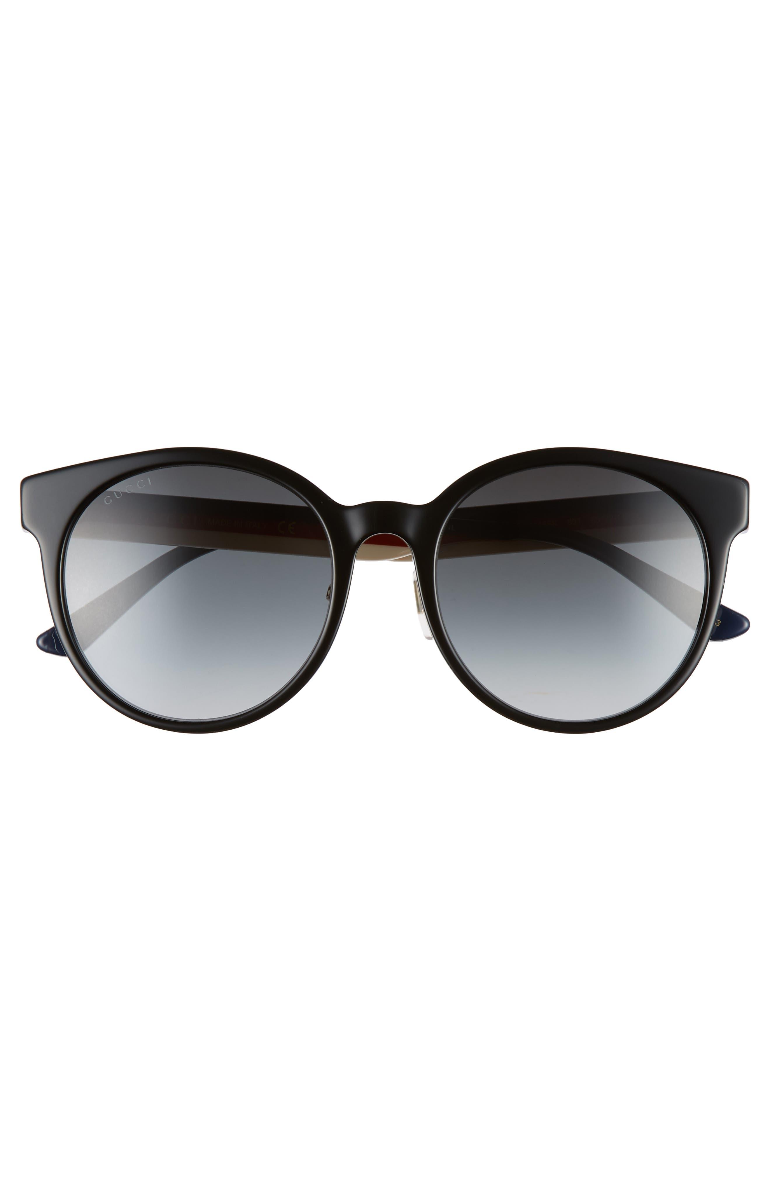 GUCCI, 55mm Round Sunglasses, Alternate thumbnail 3, color, BLACK/ MULTI/ GREY GRADIENT