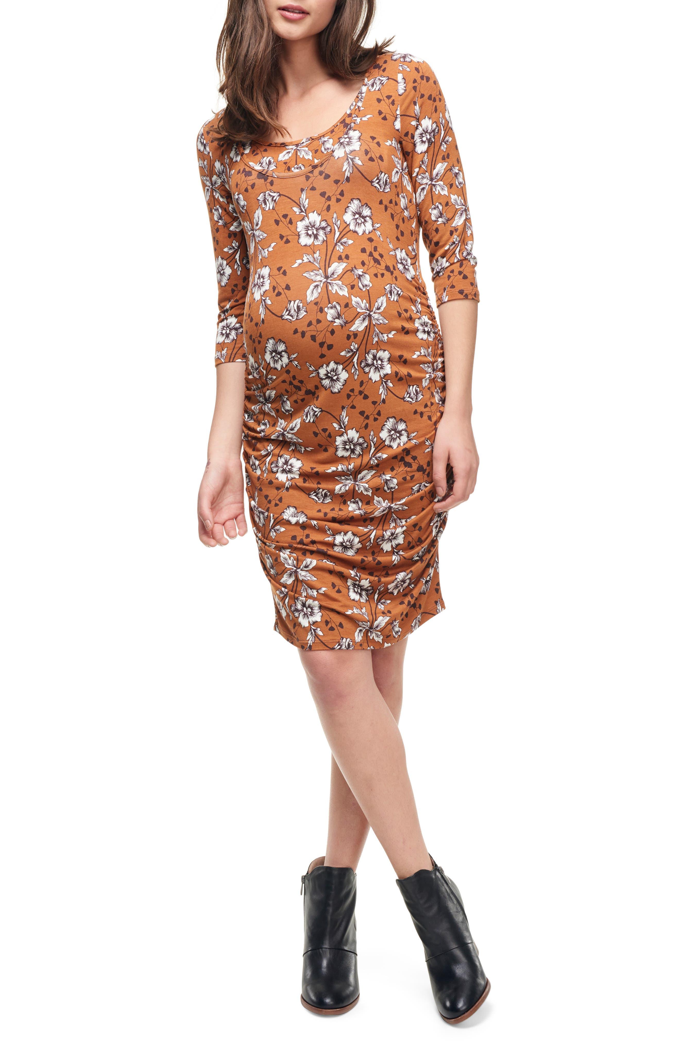 MATERNAL AMERICA, Ruched Maternity Dress, Main thumbnail 1, color, SAFFRON FLORAL