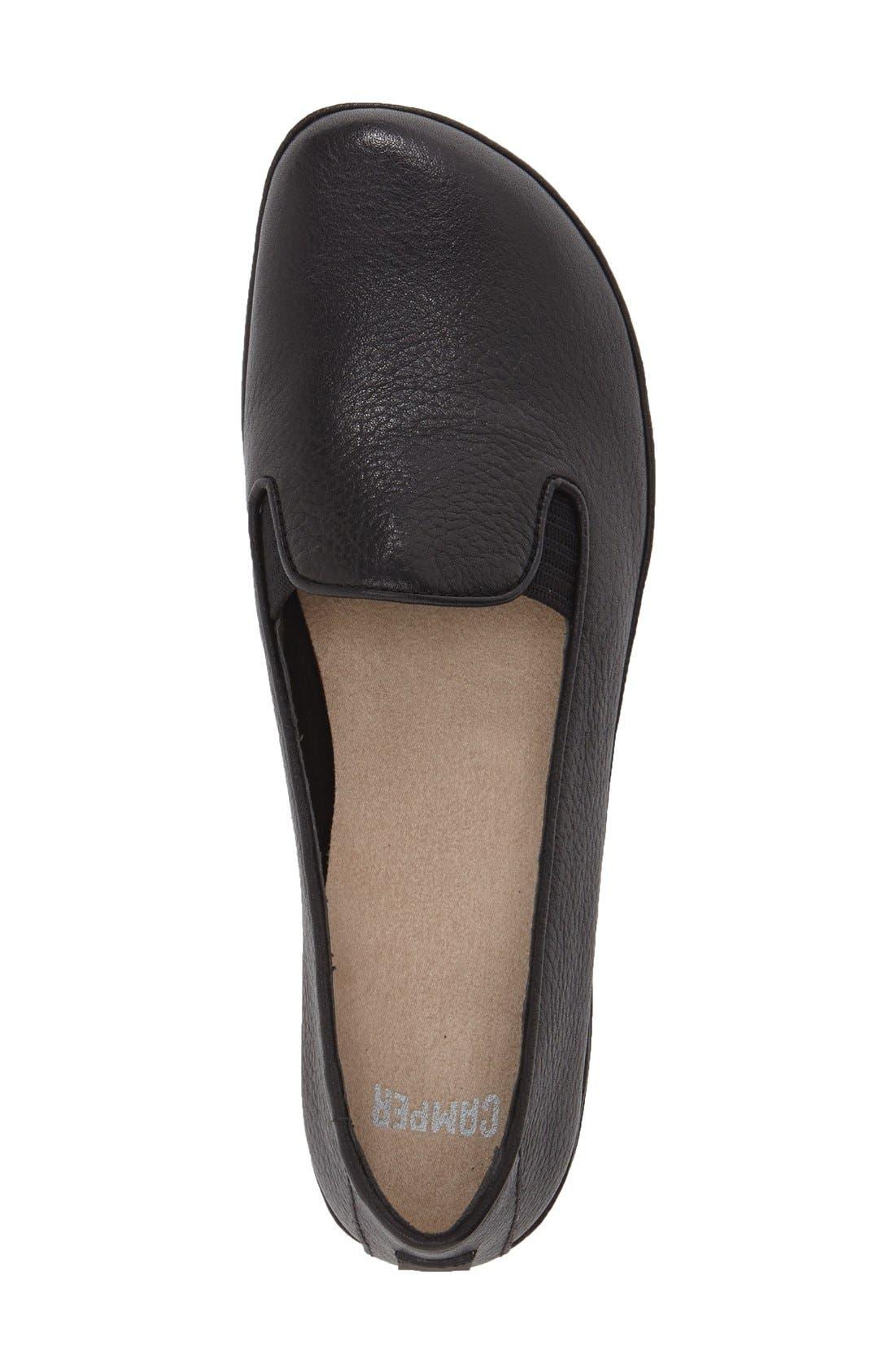 CAMPER, 'Right Nina' Leather Flat, Alternate thumbnail 3, color, BLACK/ BLACK LEATHER