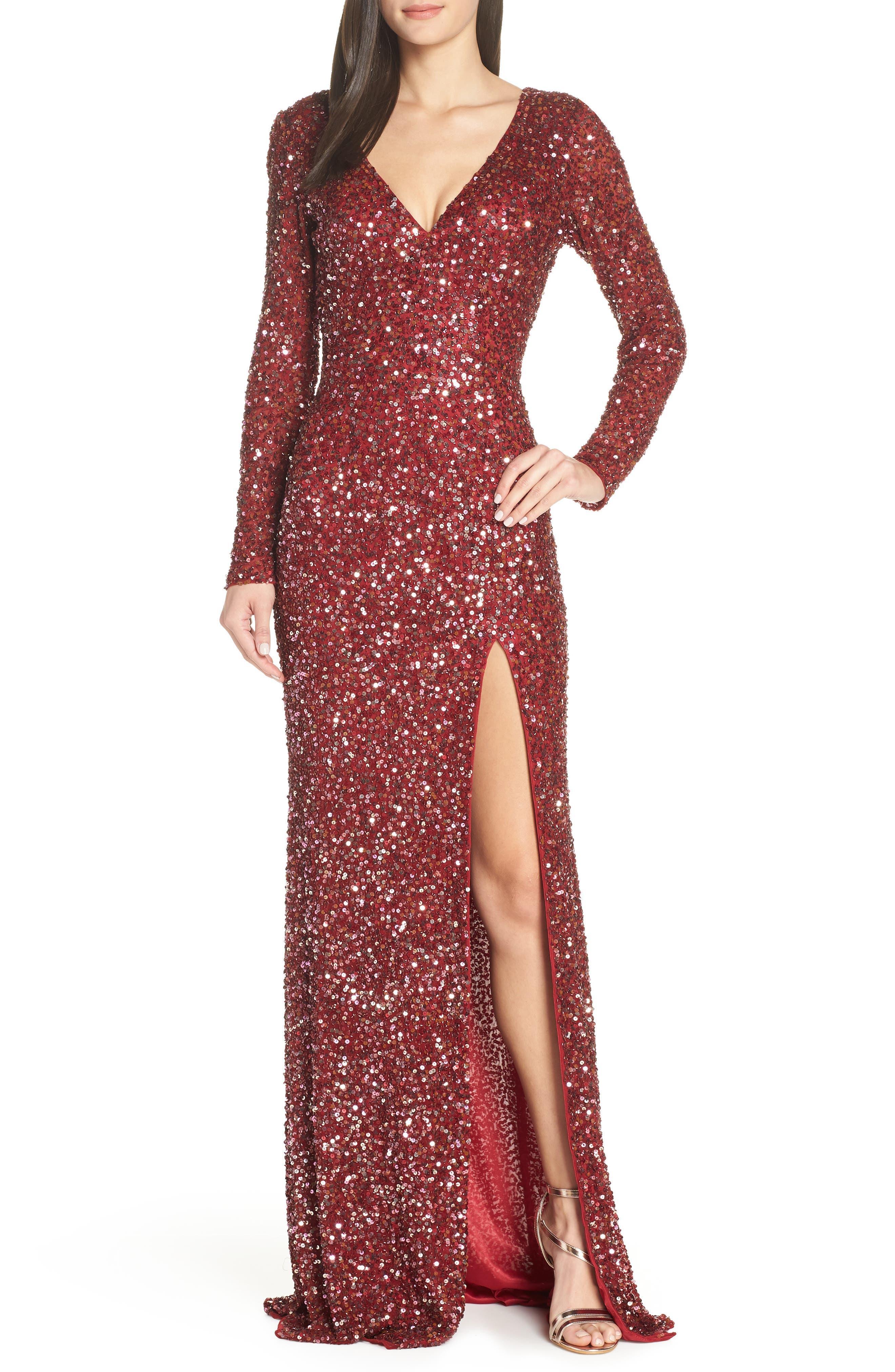 de9d3745efd MAC Duggal Sequin Slit Dress