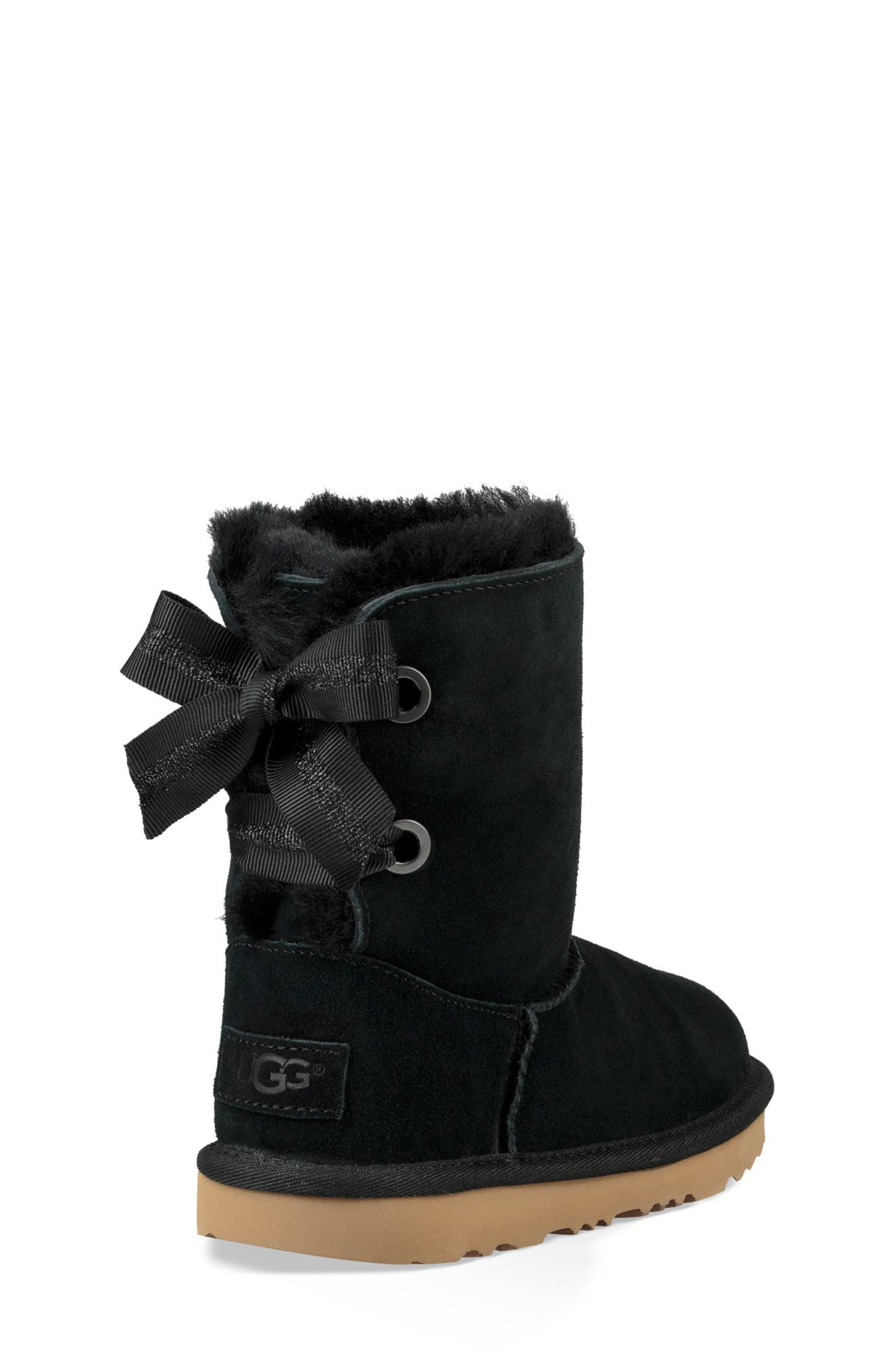 UGG<SUP>®</SUP>, Customizable Bailey Bow II Genuine Shearling Boot, Alternate thumbnail 2, color, BLACK