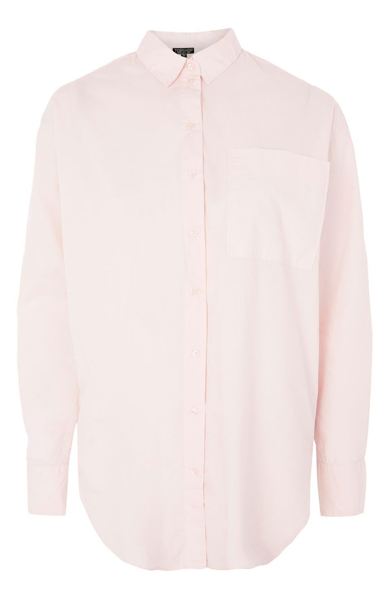 TOPSHOP, Olly Oversize Poplin Shirt, Alternate thumbnail 4, color, 680