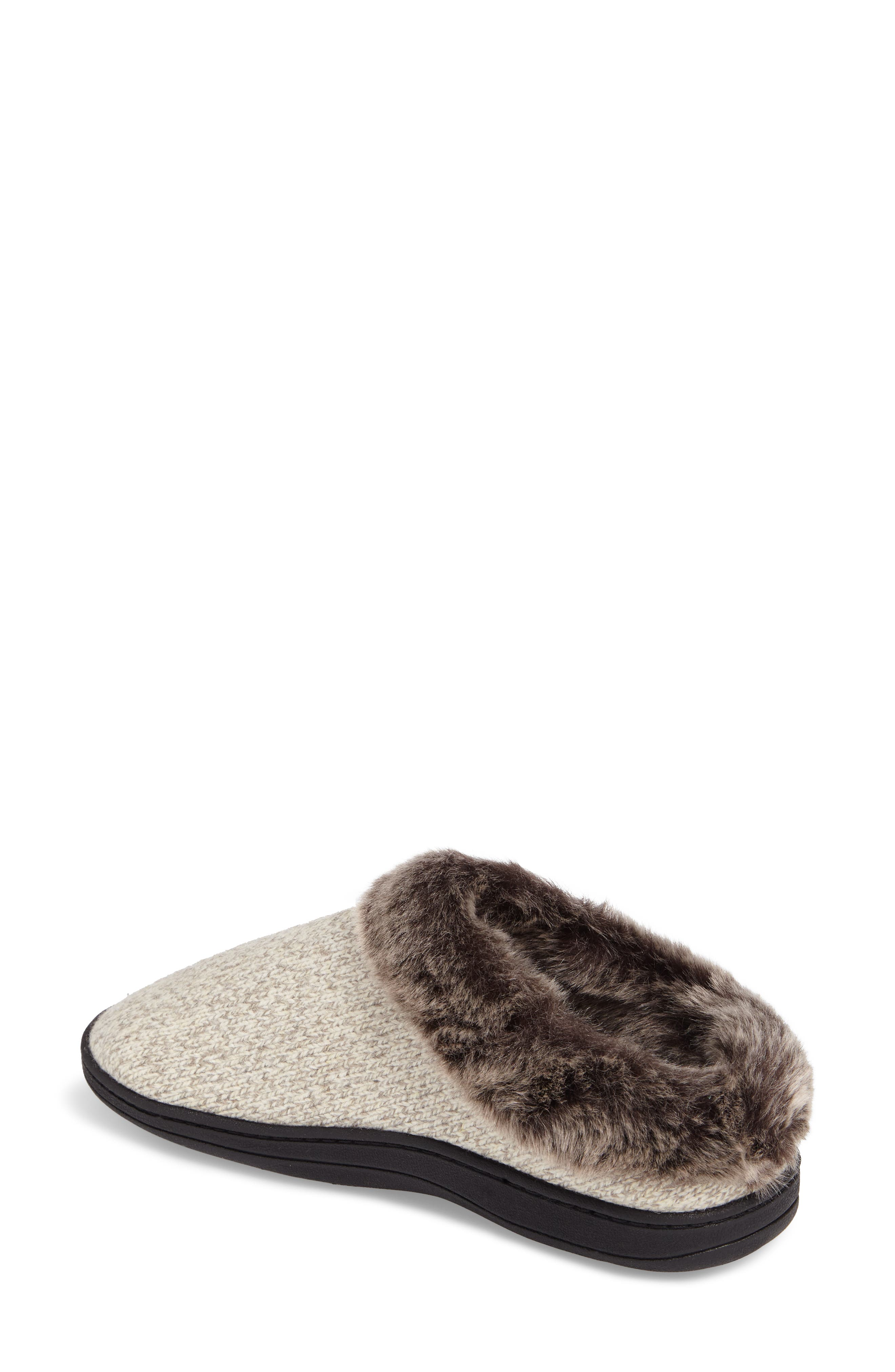ACORN, Chinchilla Faux Fur Slipper, Alternate thumbnail 2, color, CHARCOAL HEATHER