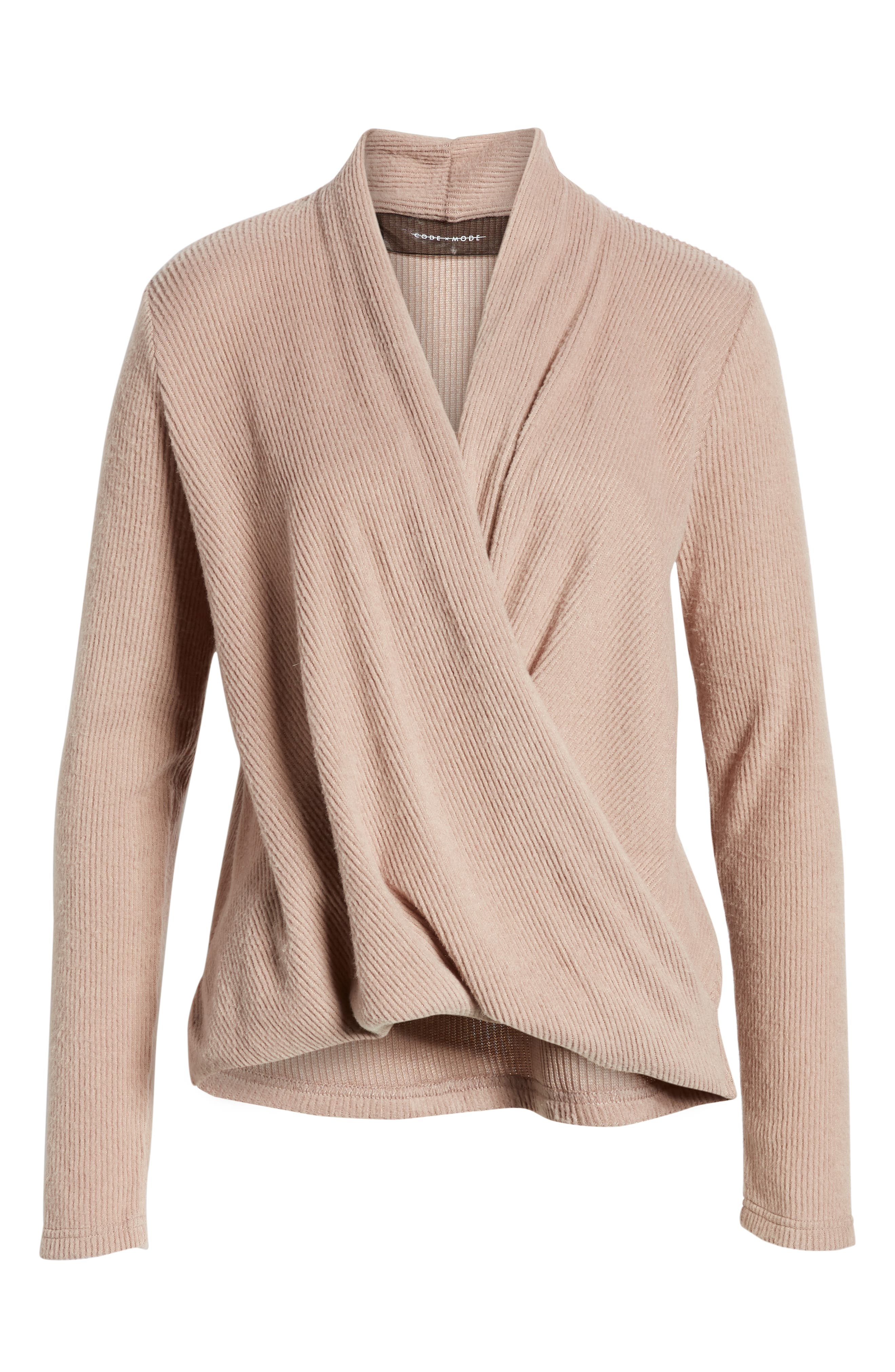 CODEXMODE, Faux Wrap Sweater, Alternate thumbnail 6, color, 250