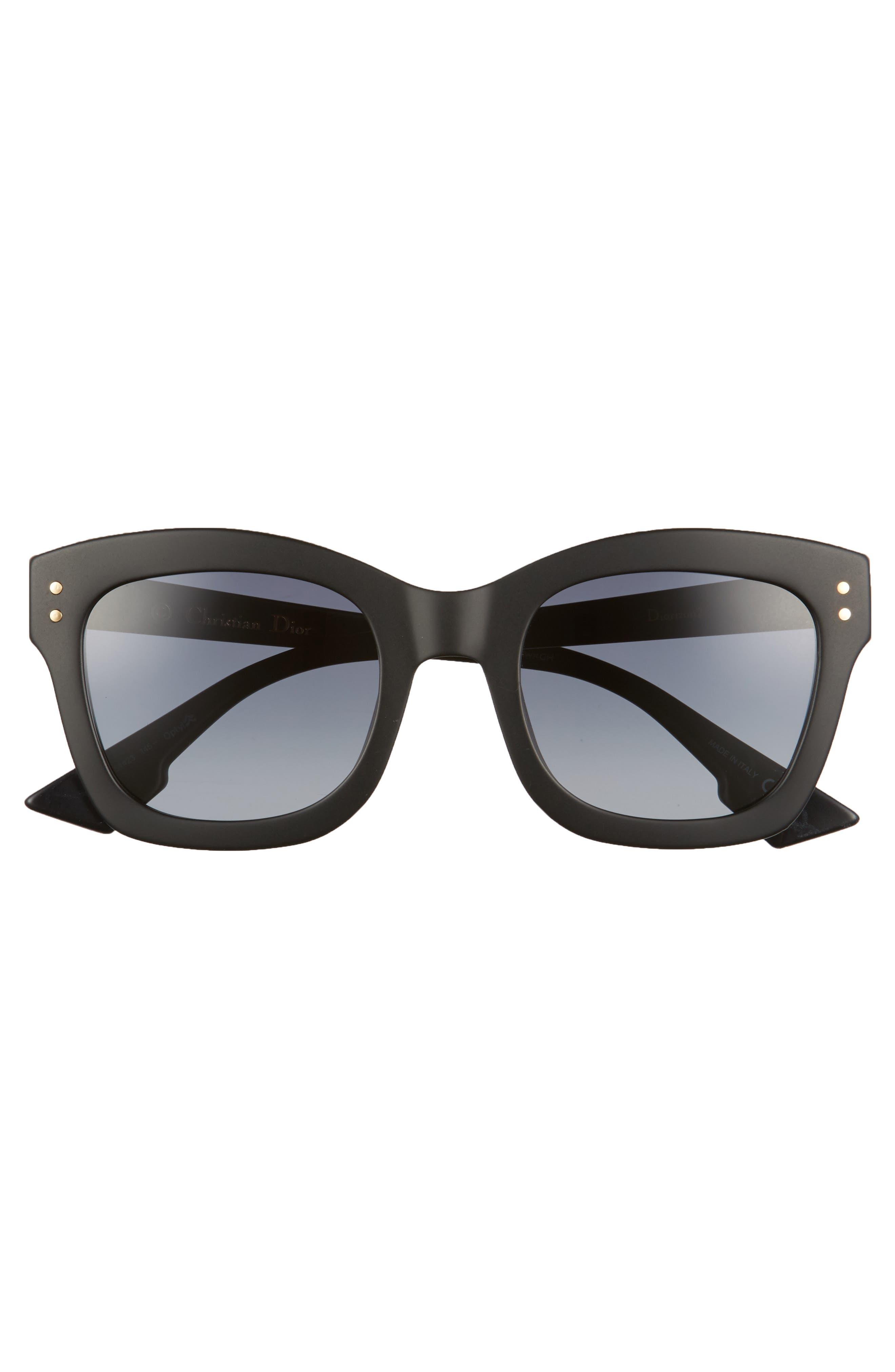 DIOR, Izon 51mm Sunglasses, Alternate thumbnail 3, color, BLACK