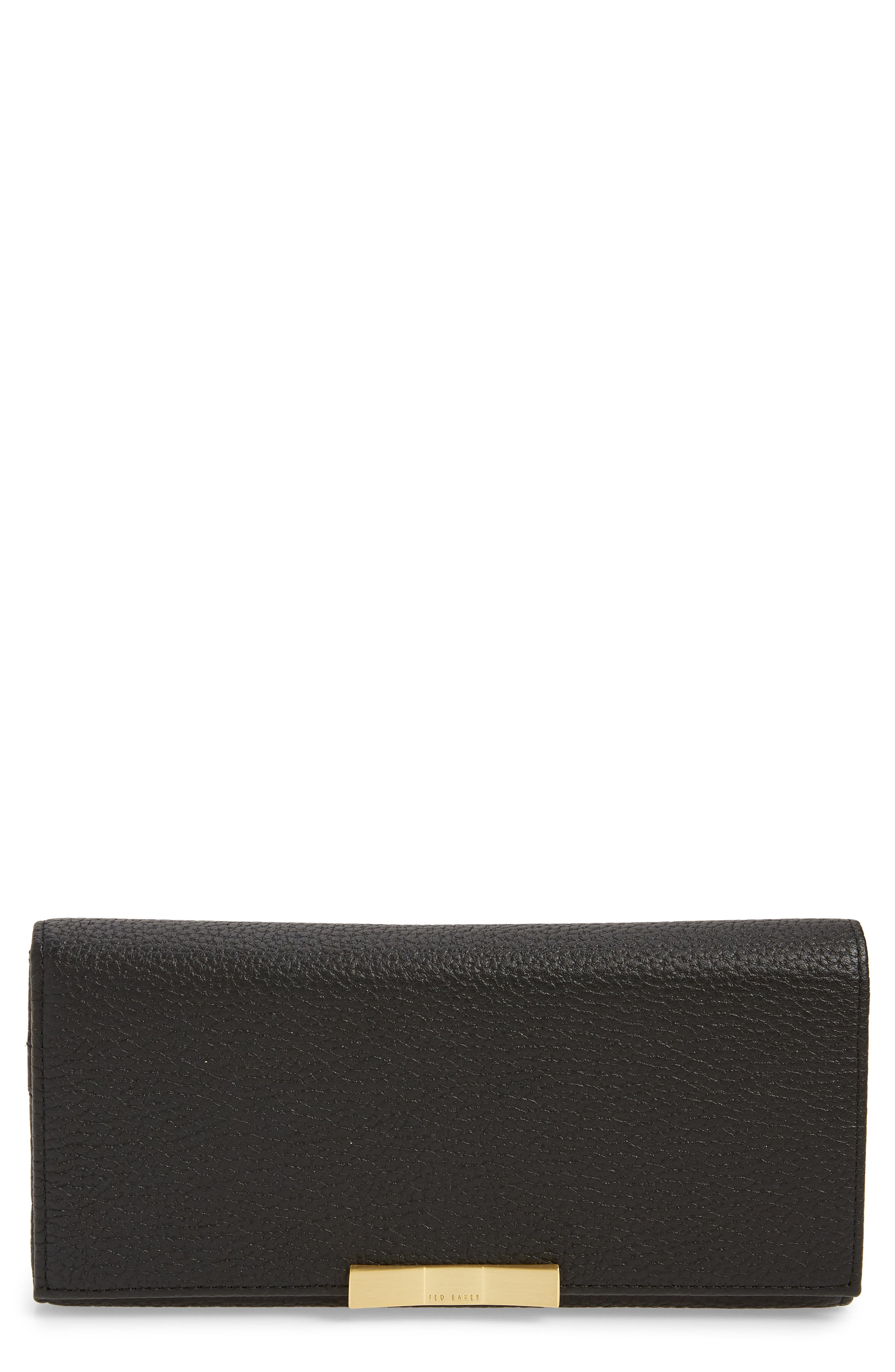 TED BAKER LONDON, Bevv Bow Leather Matinée Wallet, Main thumbnail 1, color, BLACK