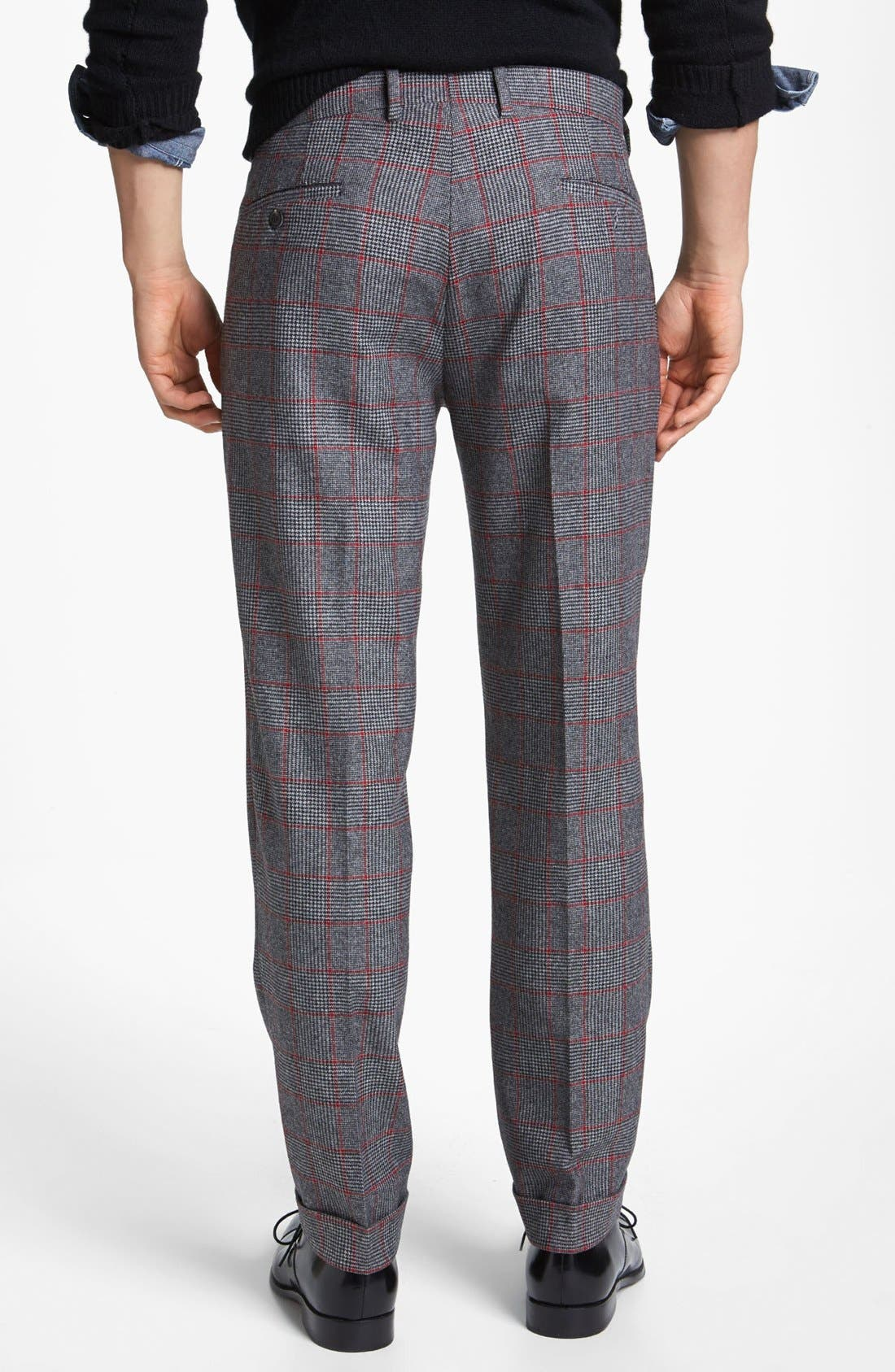 MICHAEL BASTIAN, Skinny Fit Glen Plaid Pants, Alternate thumbnail 3, color, 023