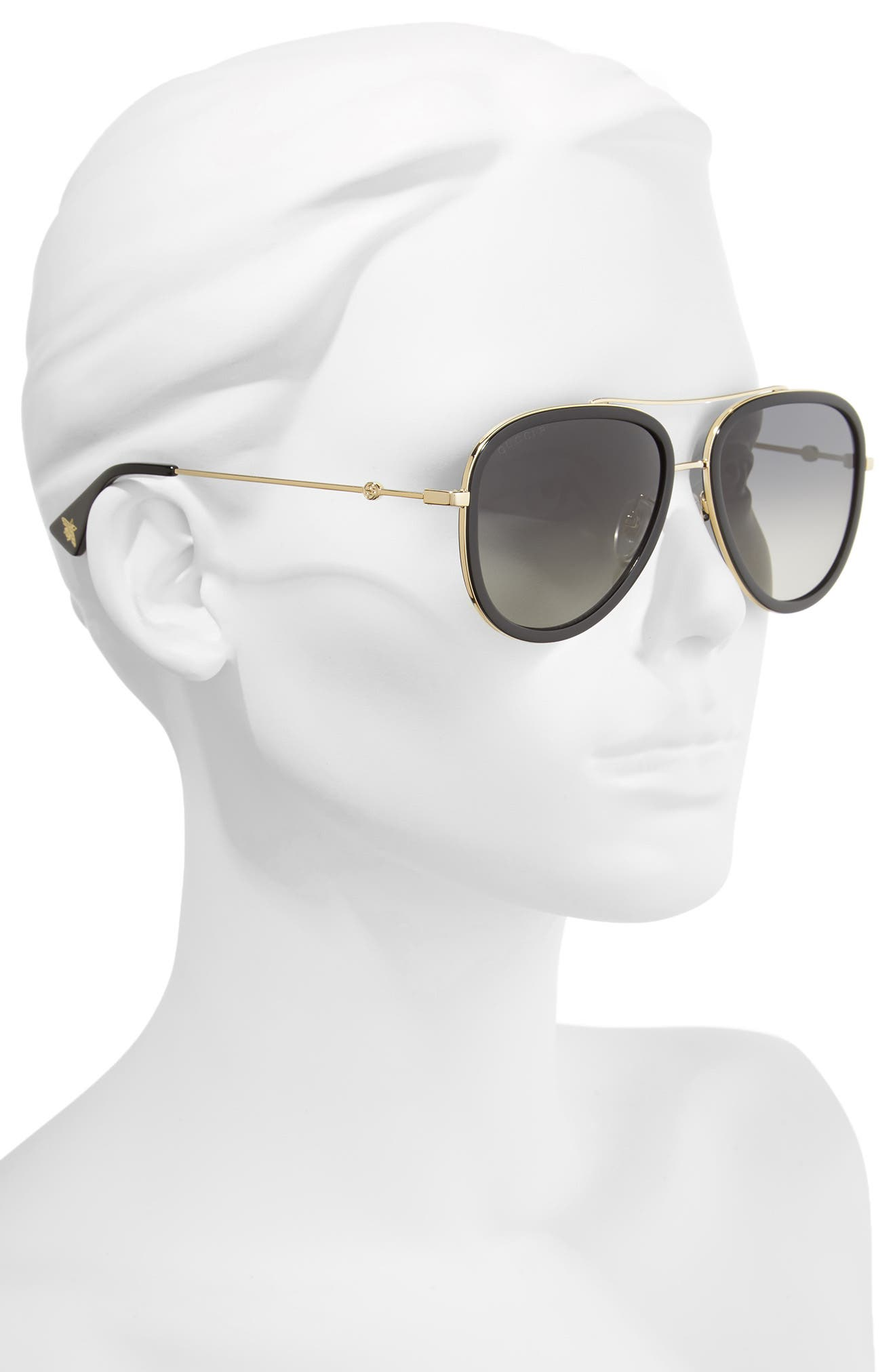 GUCCI, 57mm Polarized Metal Aviator Sunglasses, Alternate thumbnail 2, color, 710