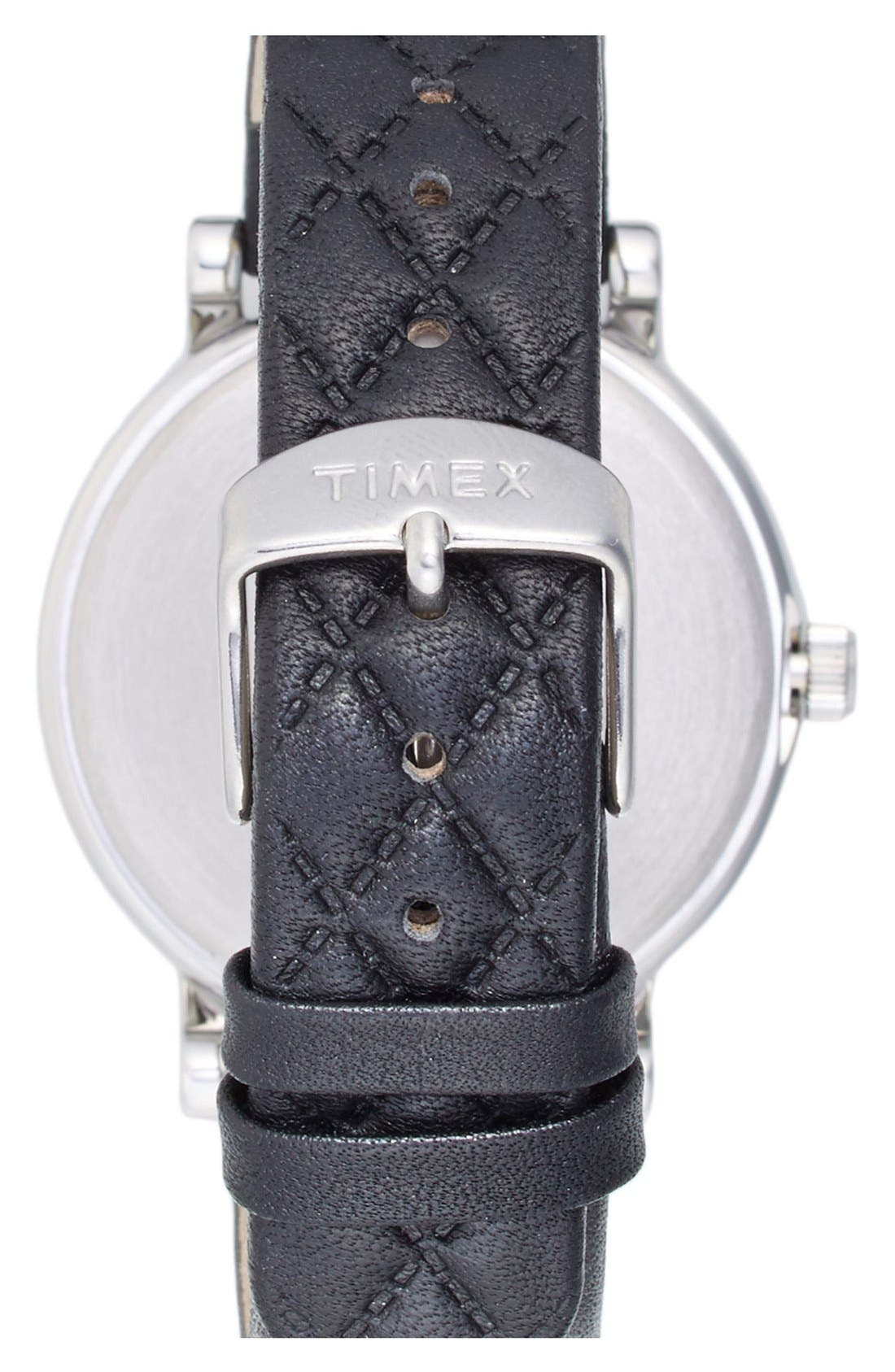 TIMEX<SUP>®</SUP>, 'Originals' Leather Strap Watch, 38mm, Alternate thumbnail 3, color, 001