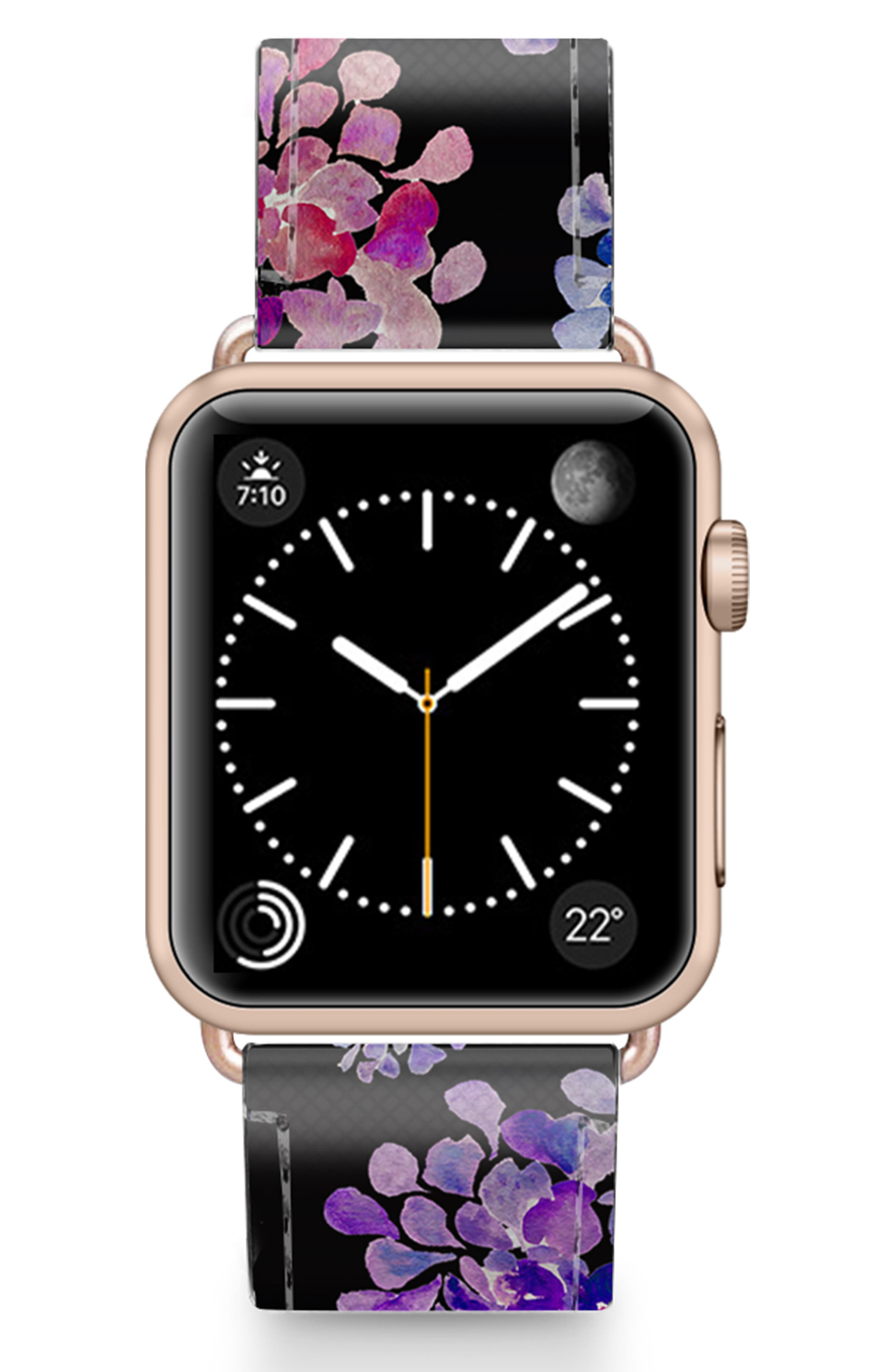 CASETIFY, Saffiano Purple Flowers Faux Leather Apple Watch Strap, Main thumbnail 1, color, BLACK/ ROSE GOLD