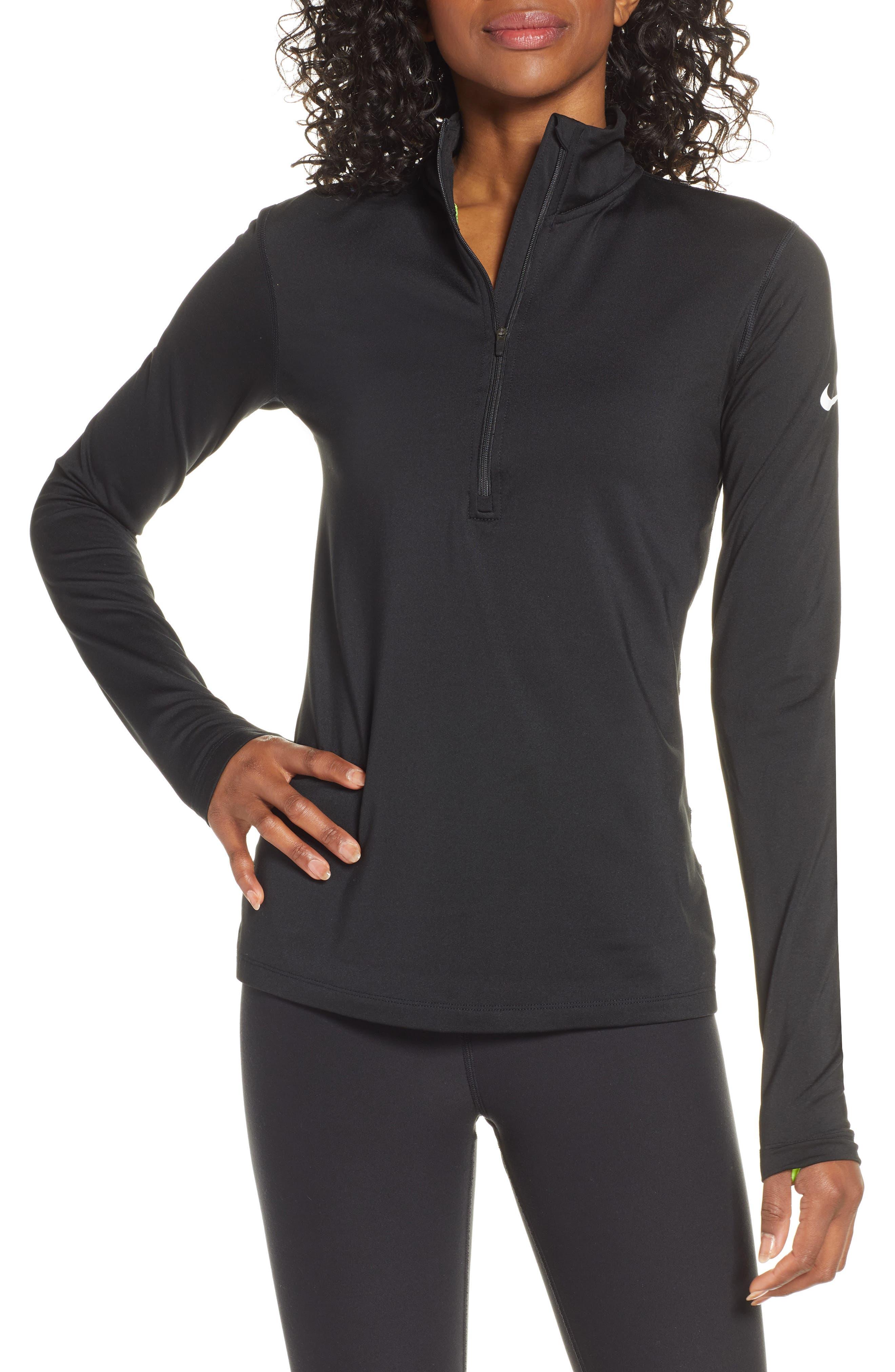 NIKE Element Long-Sleeve Running Top, Main, color, BLACK