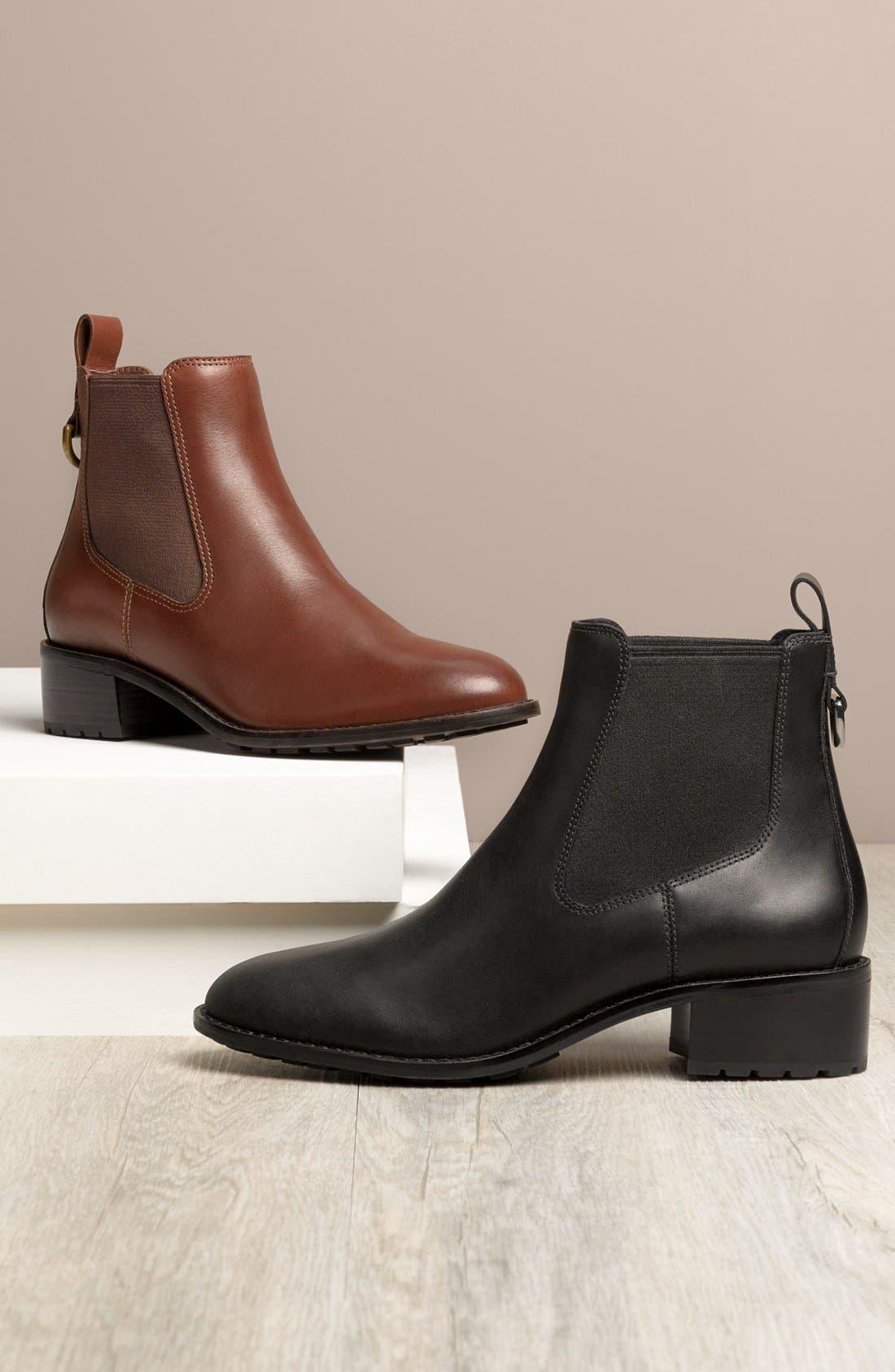COLE HAAN, Newburg Waterproof Chelsea Boot, Alternate thumbnail 5, color, BLACK LEATHER