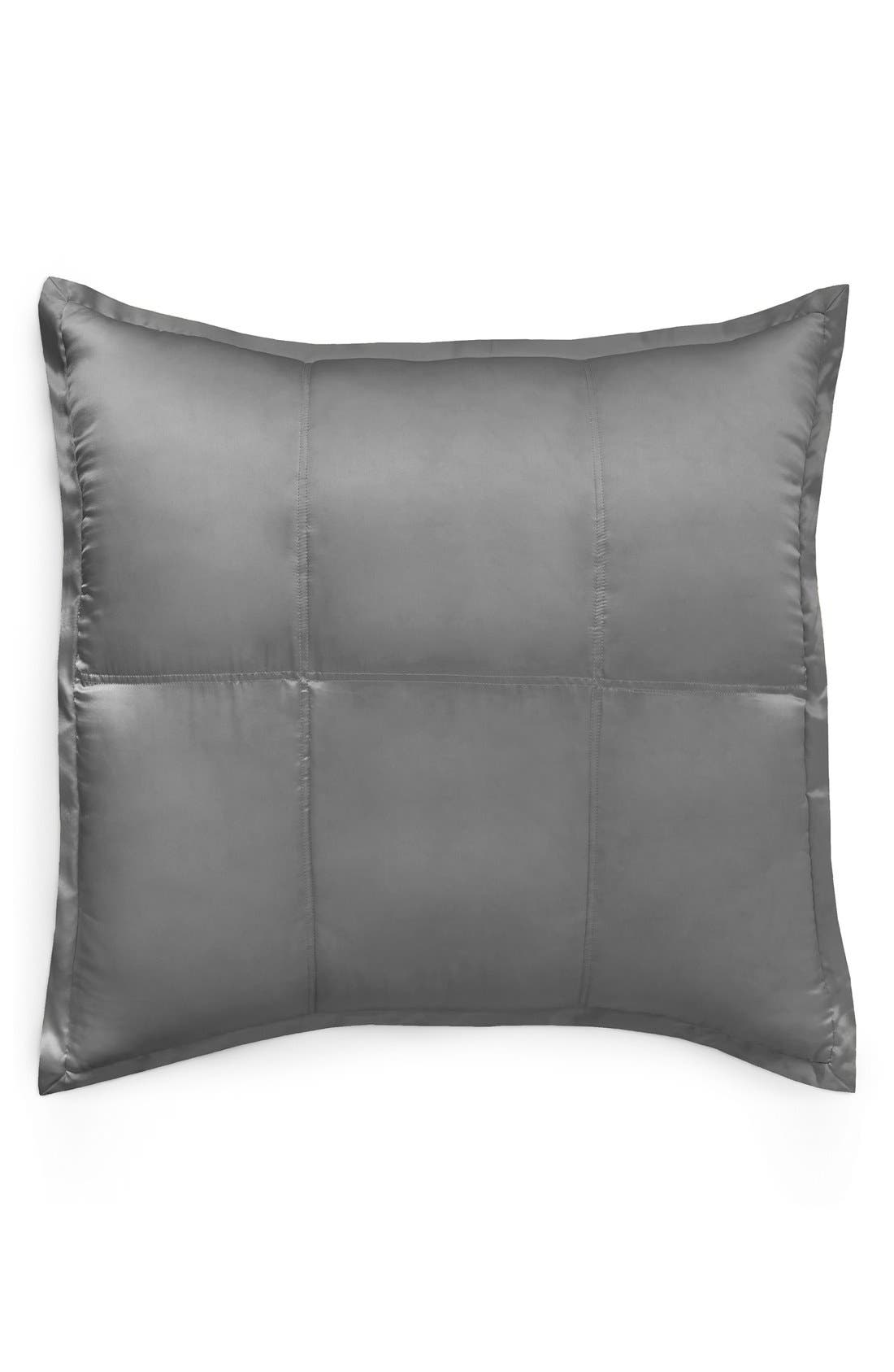 DONNA KARAN NEW YORK, Donna Karan Collection 'Surface' Silk Charmeuse Euro Pillow Sham, Main thumbnail 1, color, CHARCOAL