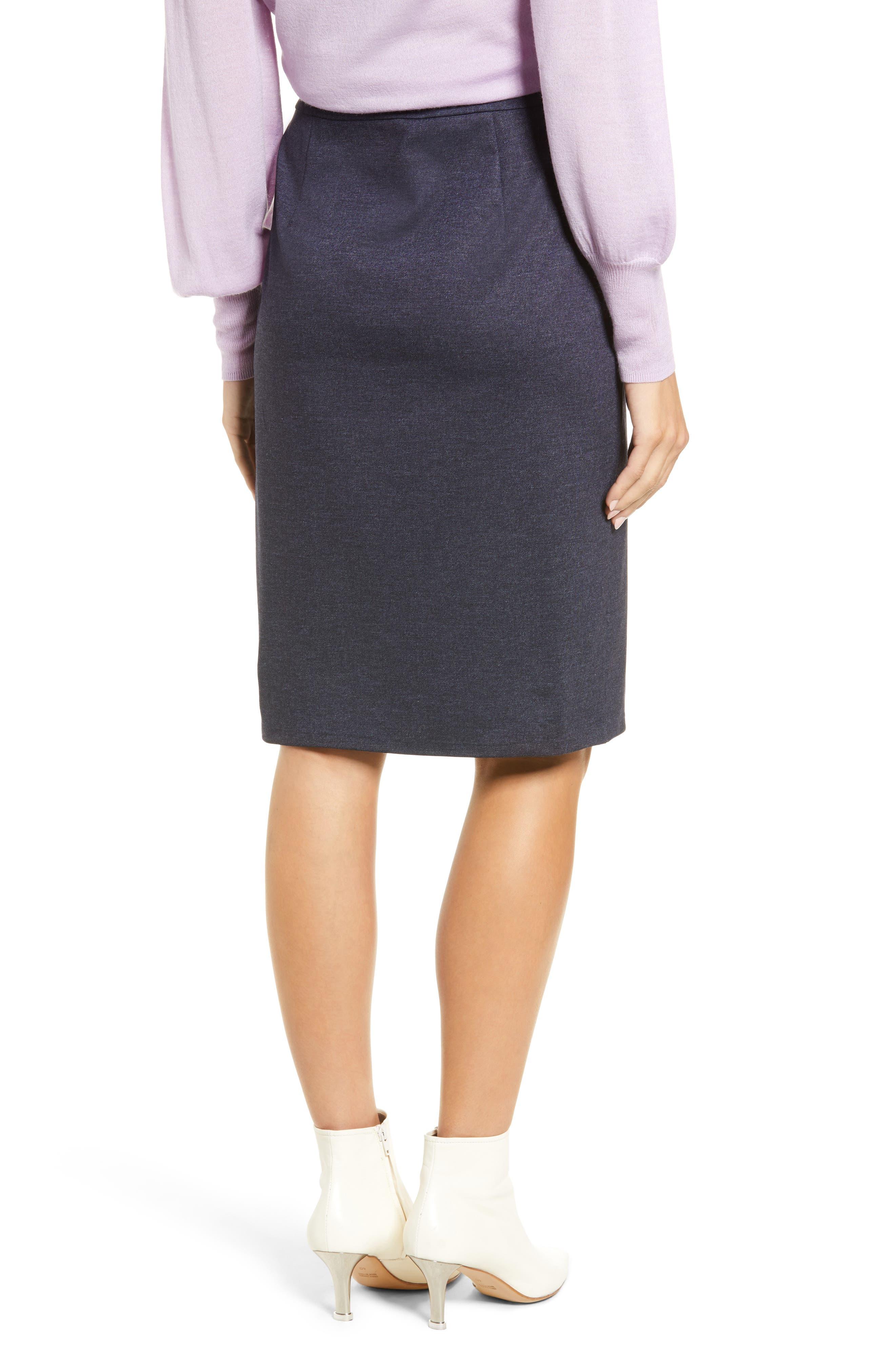 HALOGEN<SUP>®</SUP>, Knit Pencil Skirt, Alternate thumbnail 2, color, INDIGO