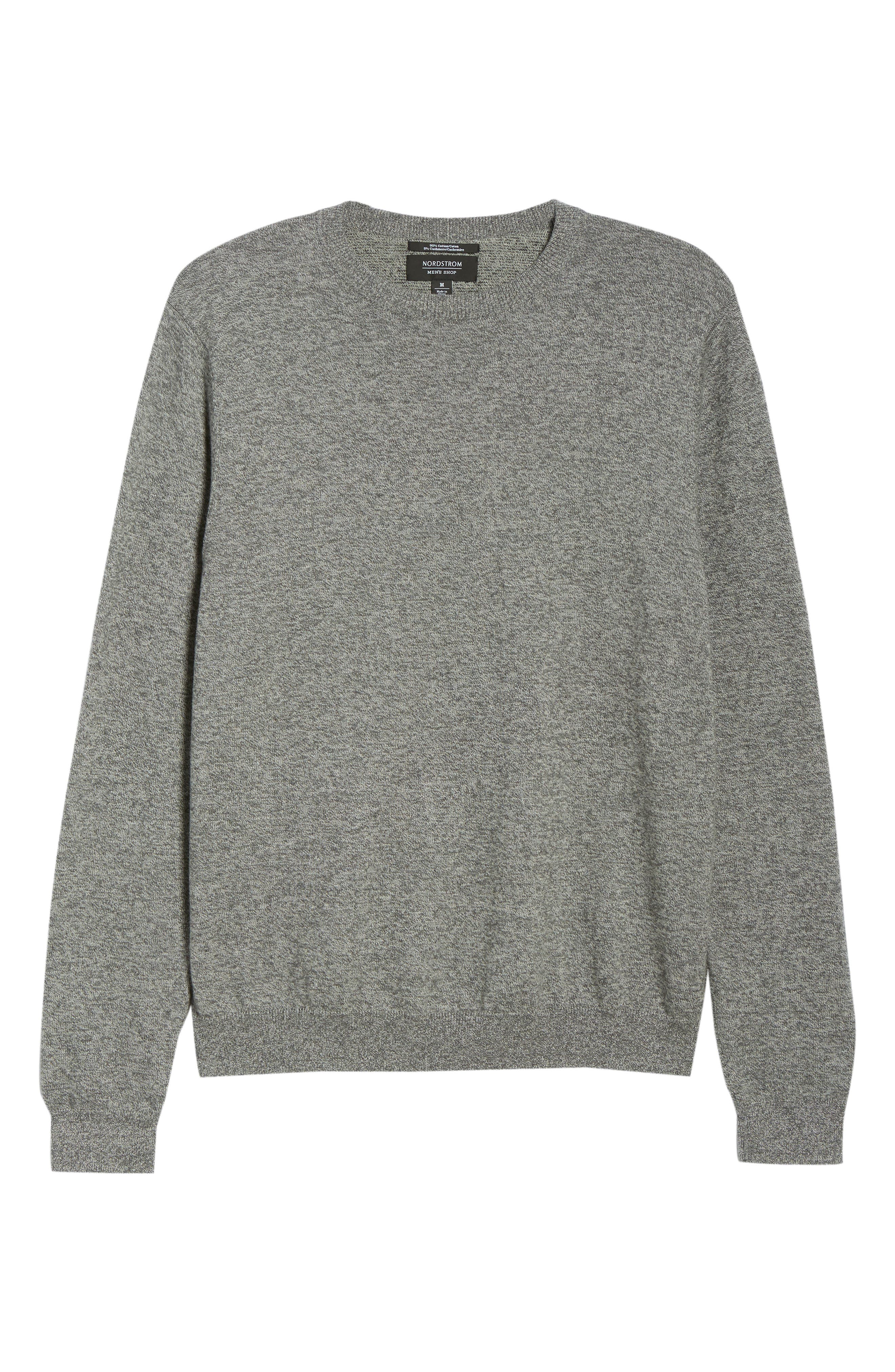 NORDSTROM MEN'S SHOP, Cotton & Cashmere Crewneck Sweater, Alternate thumbnail 6, color, GREY SHADE MARL