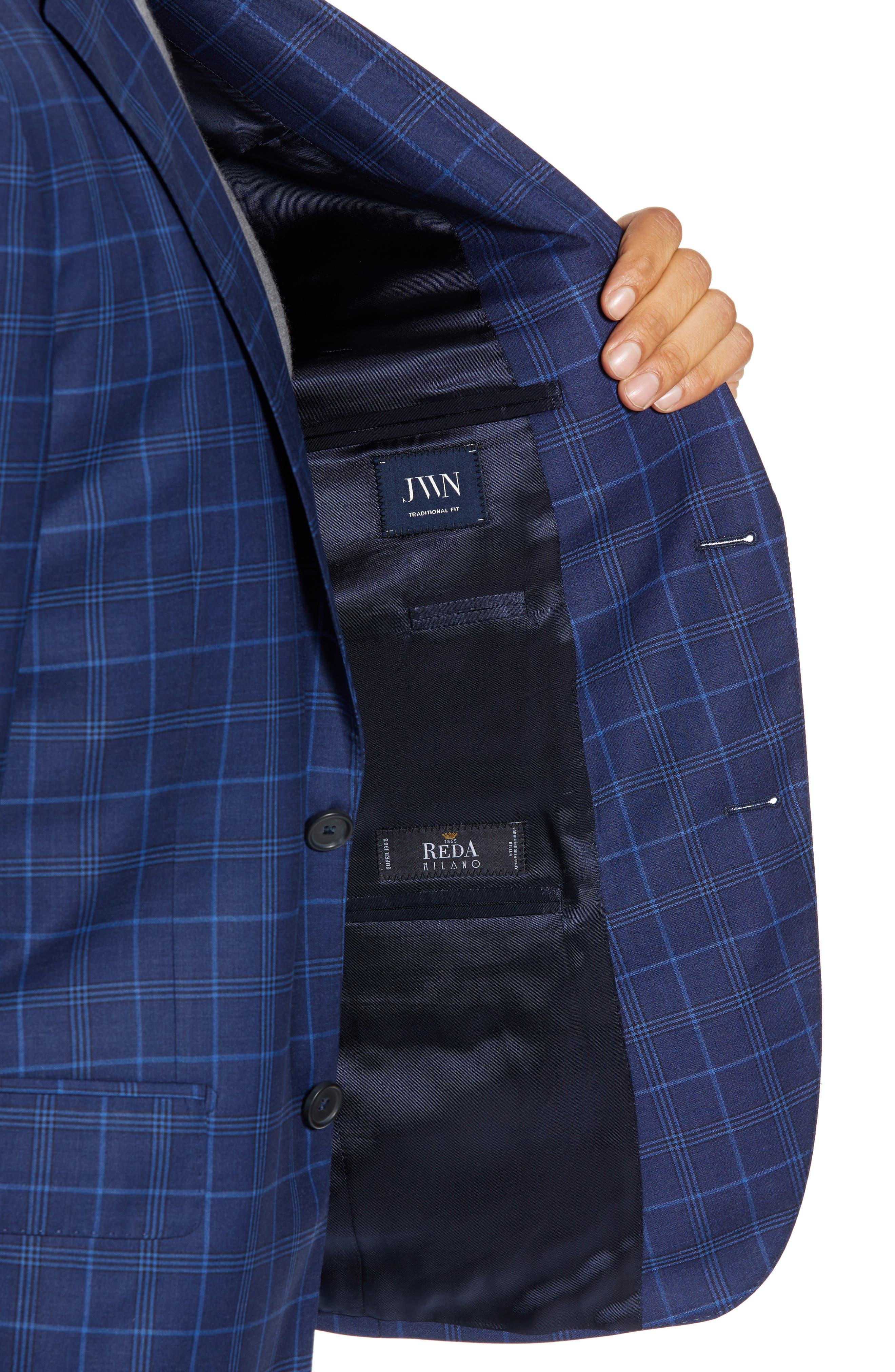 JOHN W. NORDSTROM<SUP>®</SUP>, Traditional Fit Plaid Wool Sport Coat, Alternate thumbnail 4, color, NAVY IRIS BLUE WINDOWPANE