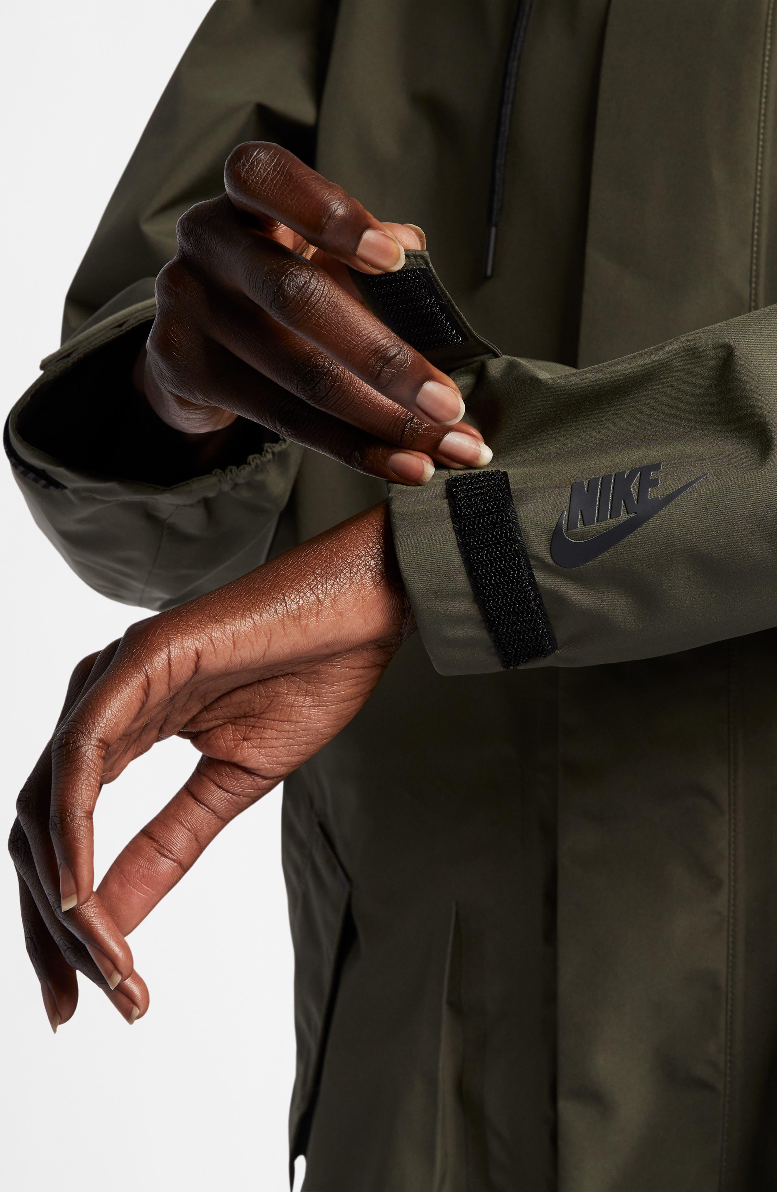 NIKE, NikeLab Water Resistant Parka, Alternate thumbnail 10, color, CARGO KHAKI/ BLACK