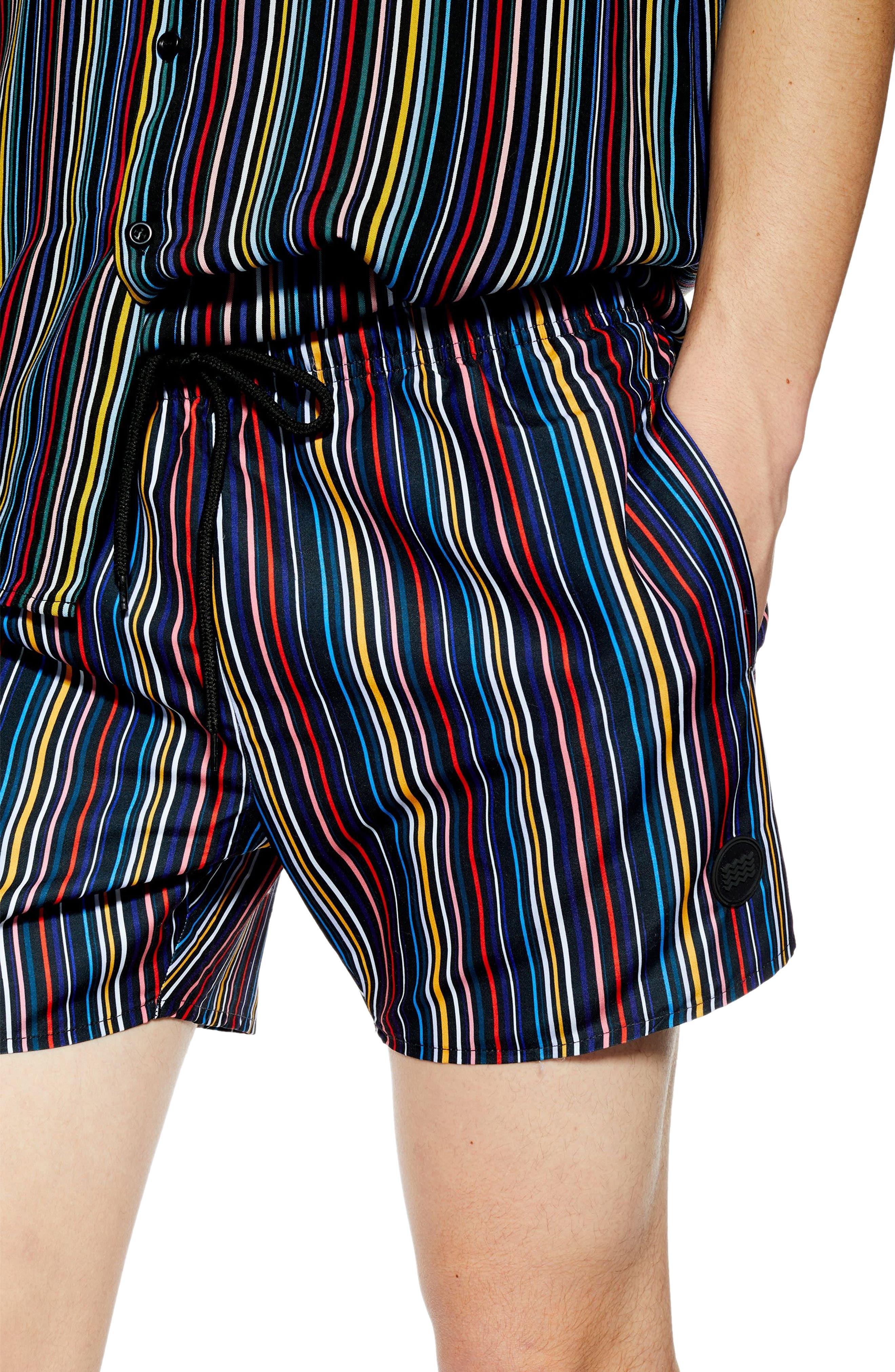 TOPMAN, Pinstripe Swim Shorts, Alternate thumbnail 3, color, BLACK MULTI