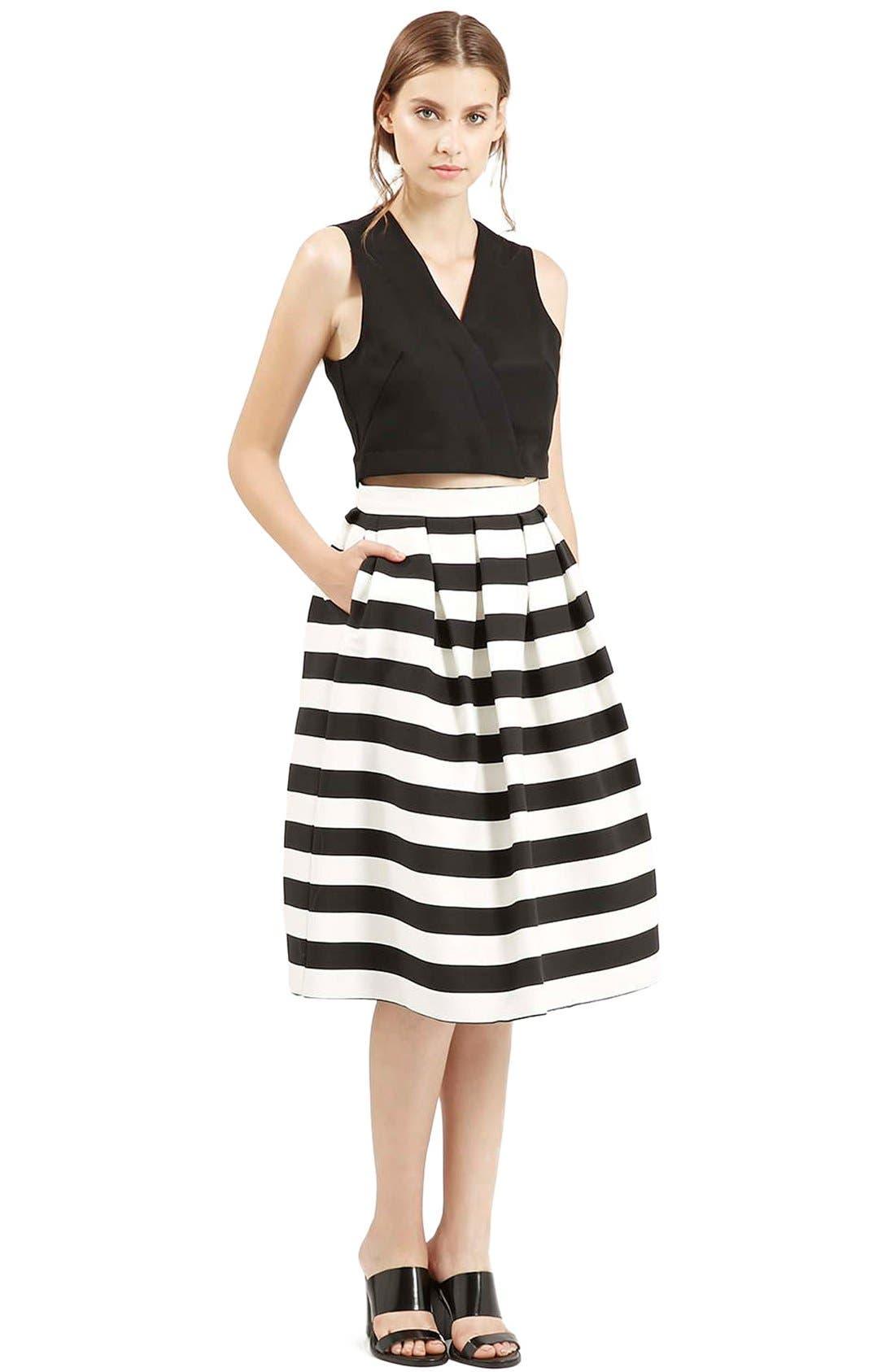 TOPSHOP, Stripe Midi Skirt, Alternate thumbnail 5, color, 001