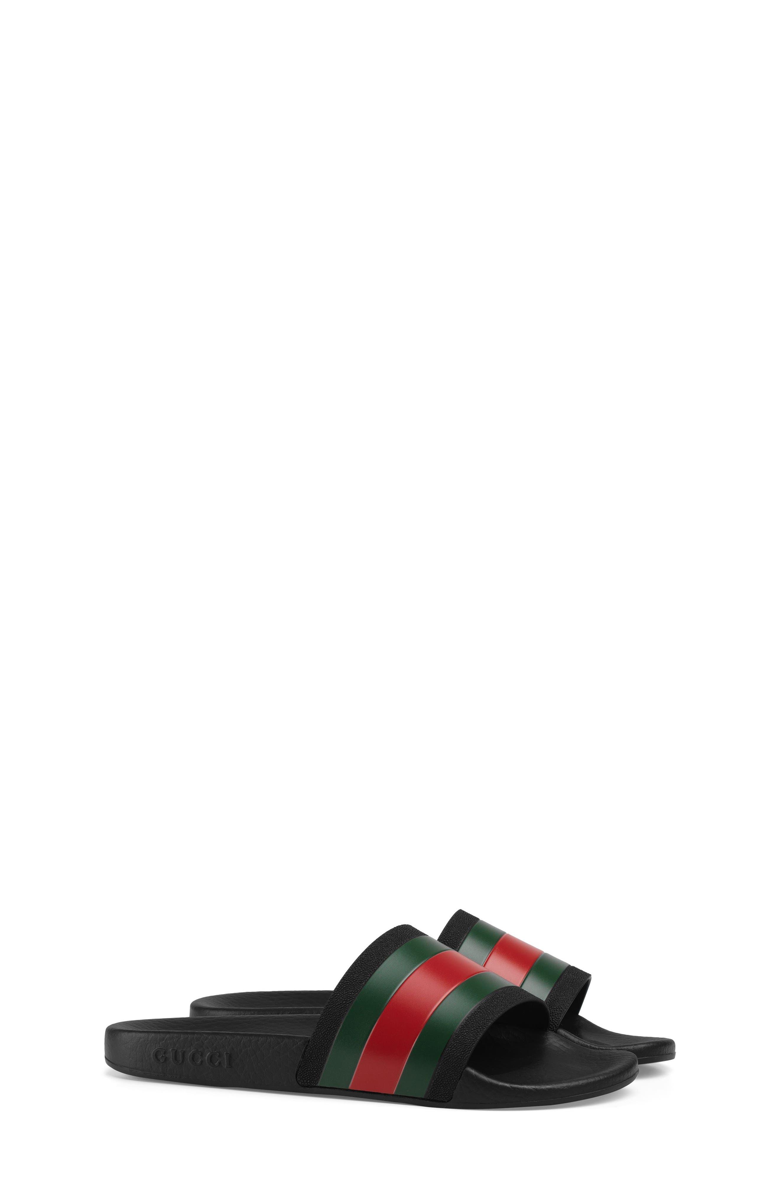 GUCCI, Pursuit Slide Sandal, Main thumbnail 1, color, BLACK/ GREEN/ RED