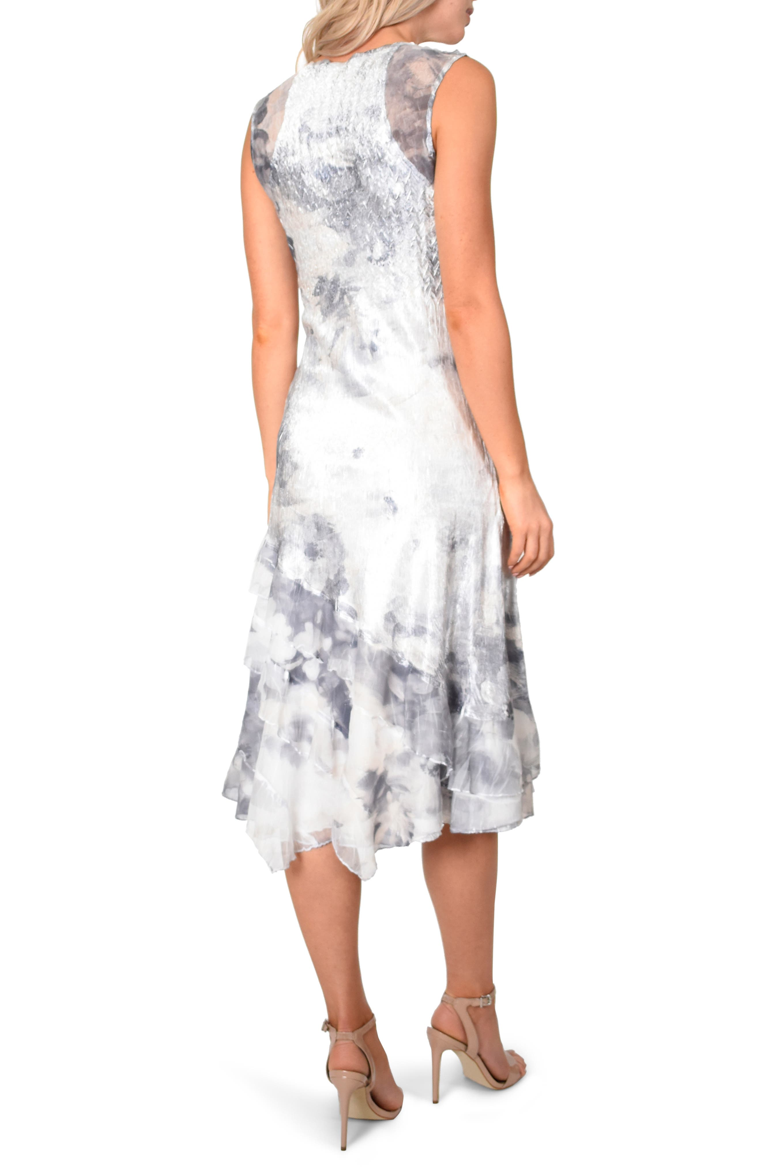 KOMAROV, Floral Charmeuse & Chiffon Dress with Jacket, Alternate thumbnail 2, color, FROSTED PETAL