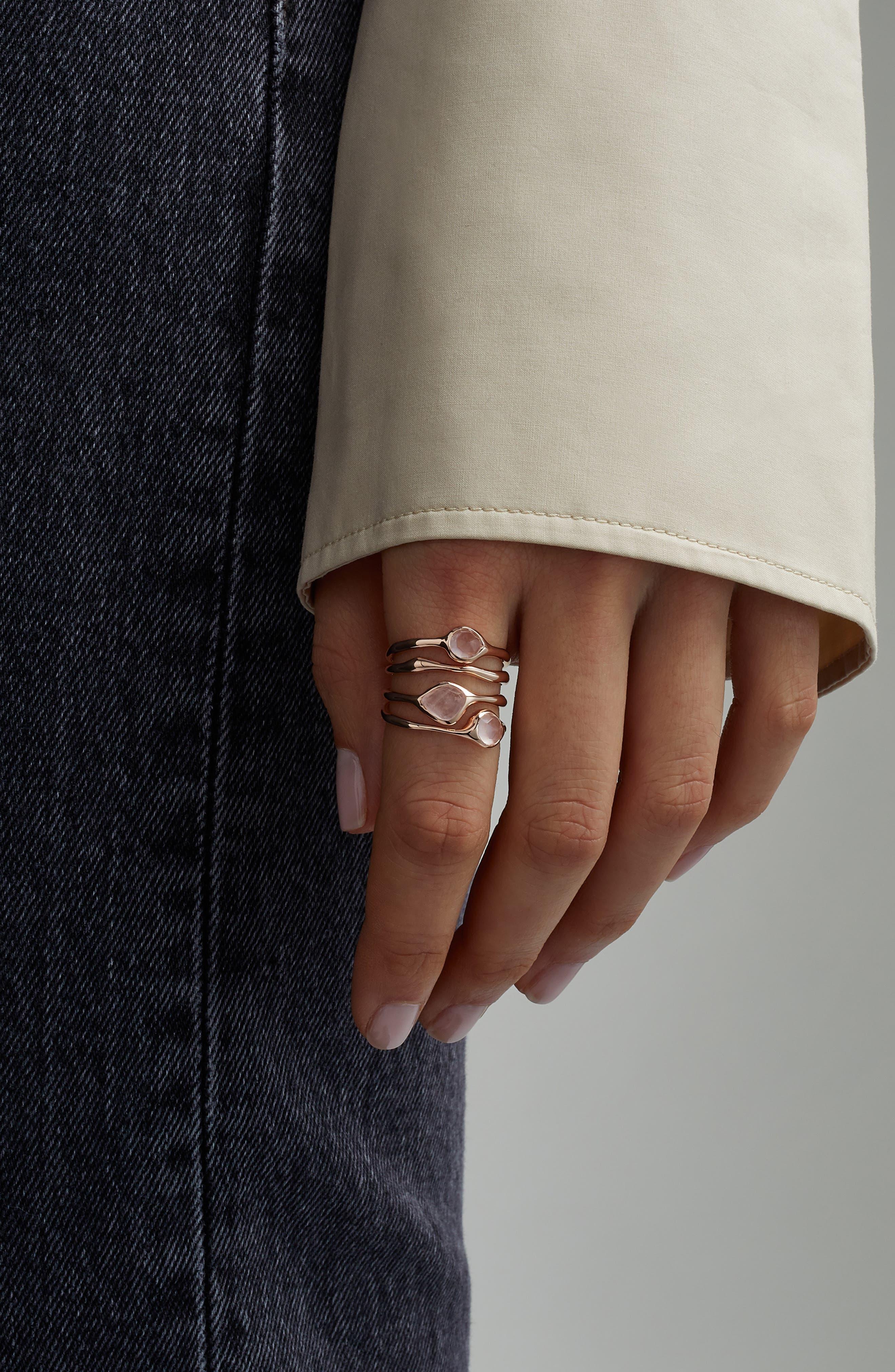 MONICA VINADER, Siren Cluster Cocktail Ring, Alternate thumbnail 2, color, ROSE GOLD/ ROSE QUARTZ