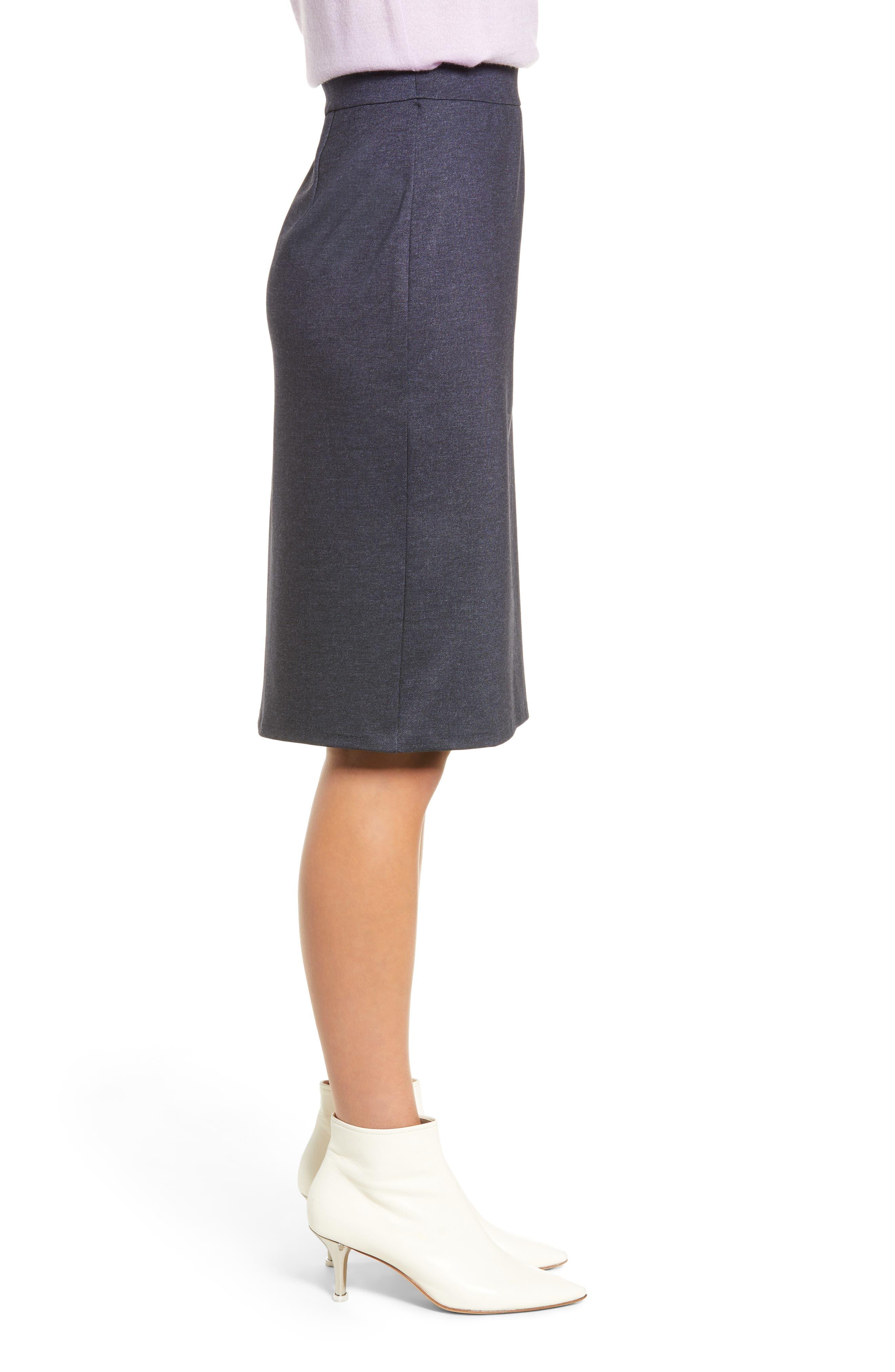 HALOGEN<SUP>®</SUP>, Knit Pencil Skirt, Alternate thumbnail 3, color, INDIGO