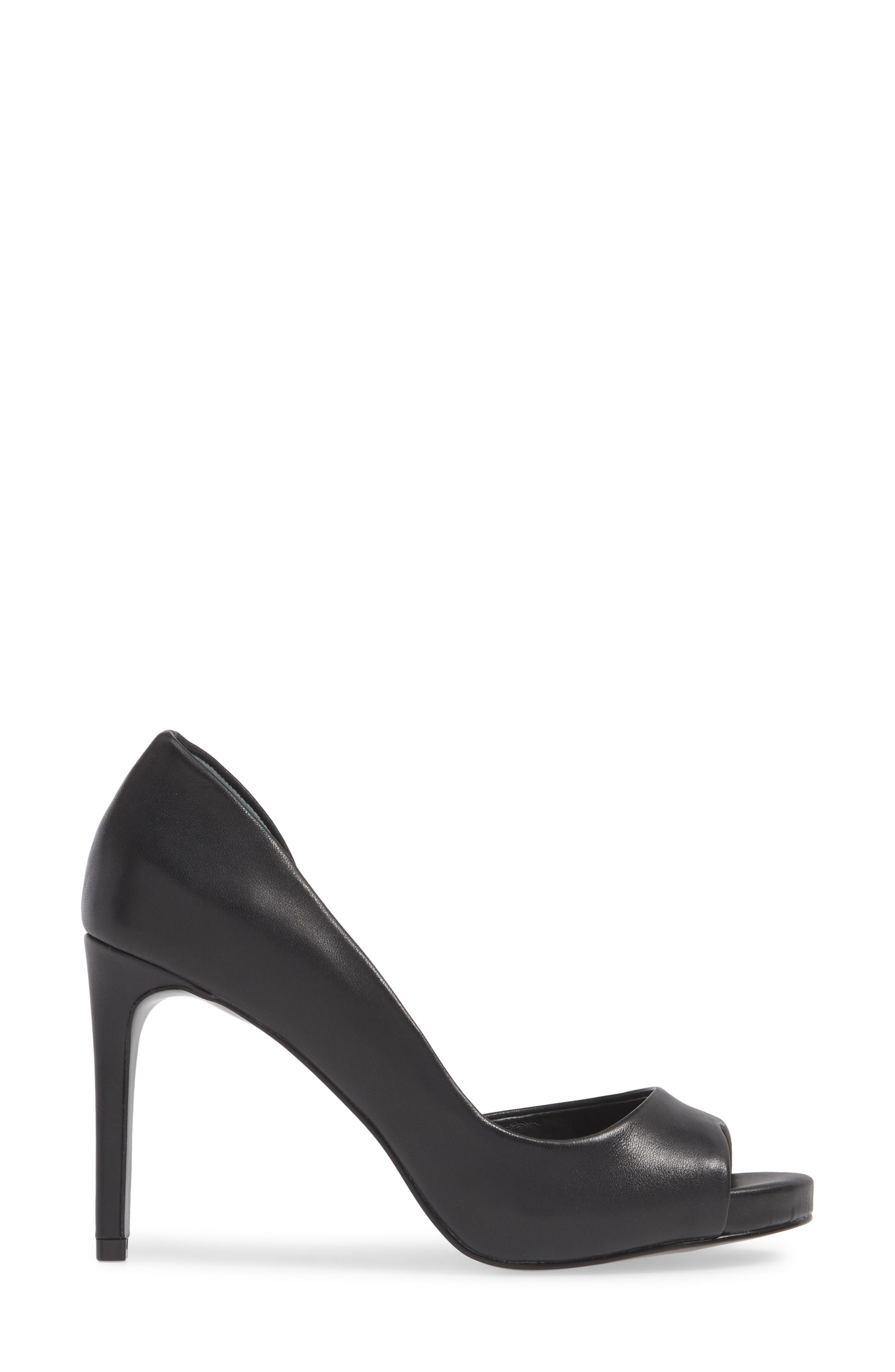 CHARLES BY CHARLES DAVID, Chess Open Toe Pump, Alternate thumbnail 3, color, BLACK LEATHER