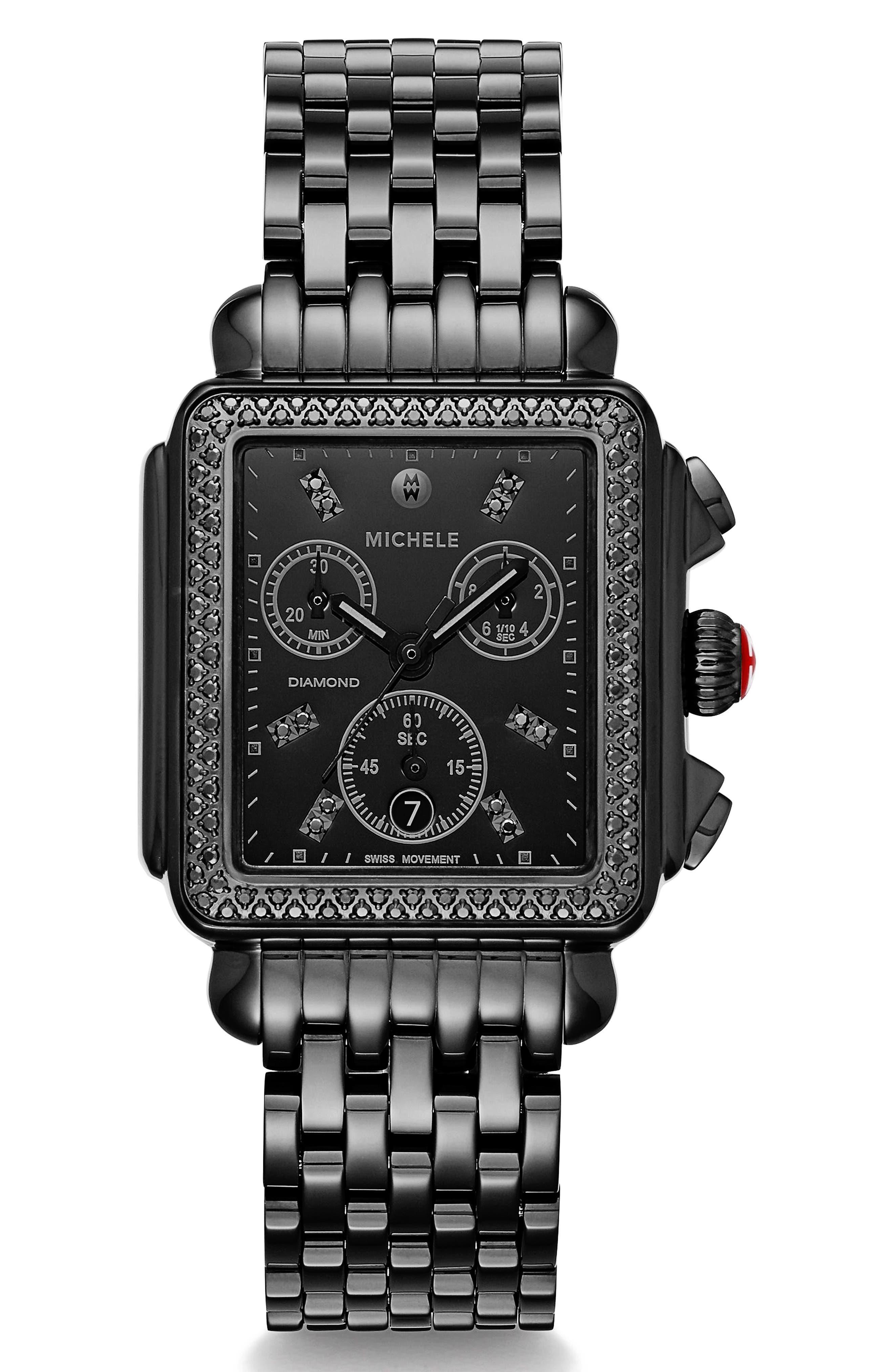 MICHELE, Deco Diamond Watch Head & Bracelet, 34mm x 35mm, Main thumbnail 1, color, BLACK
