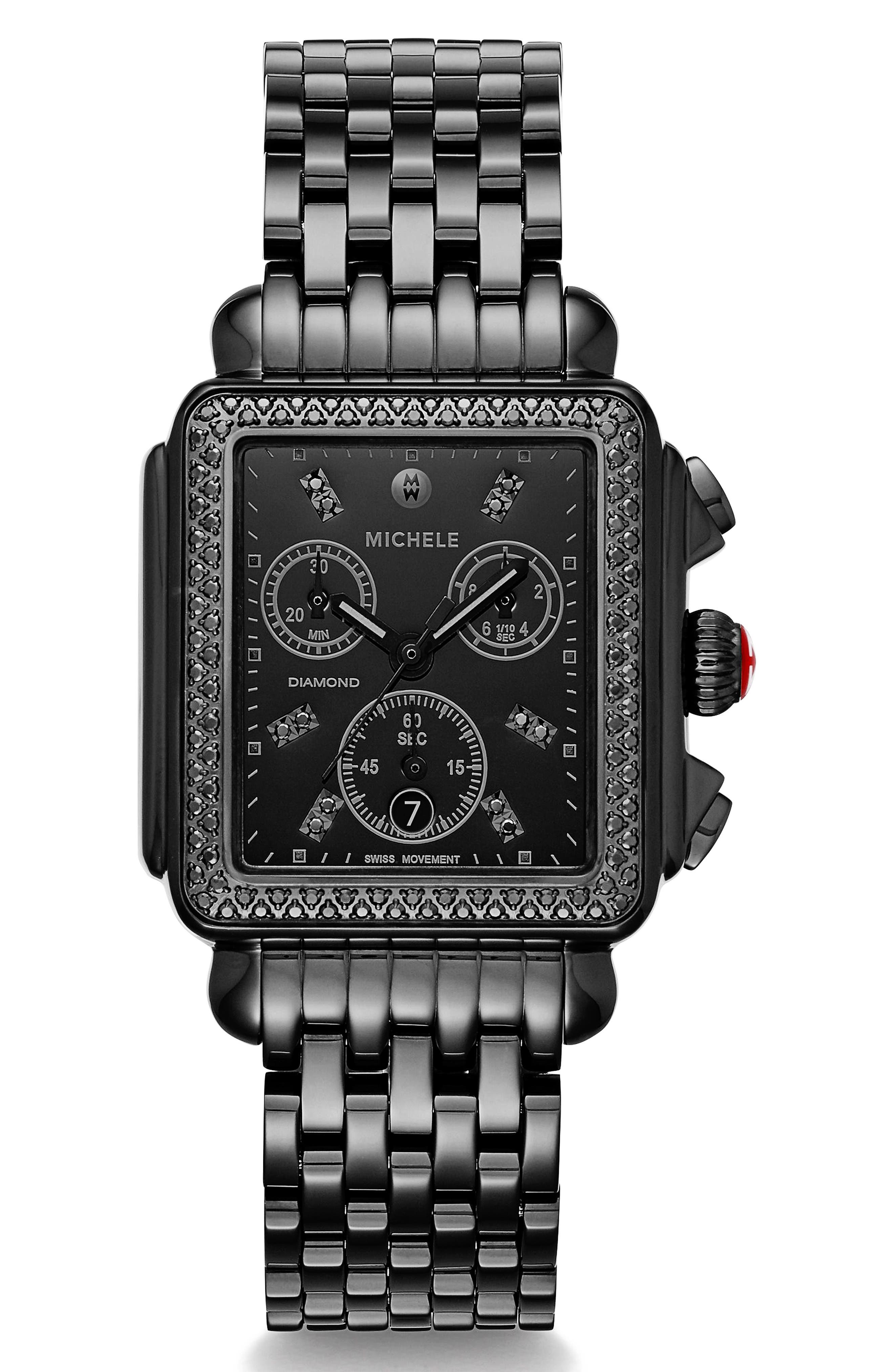 MICHELE Deco Diamond Watch Head & Bracelet, 34mm x 35mm, Main, color, BLACK