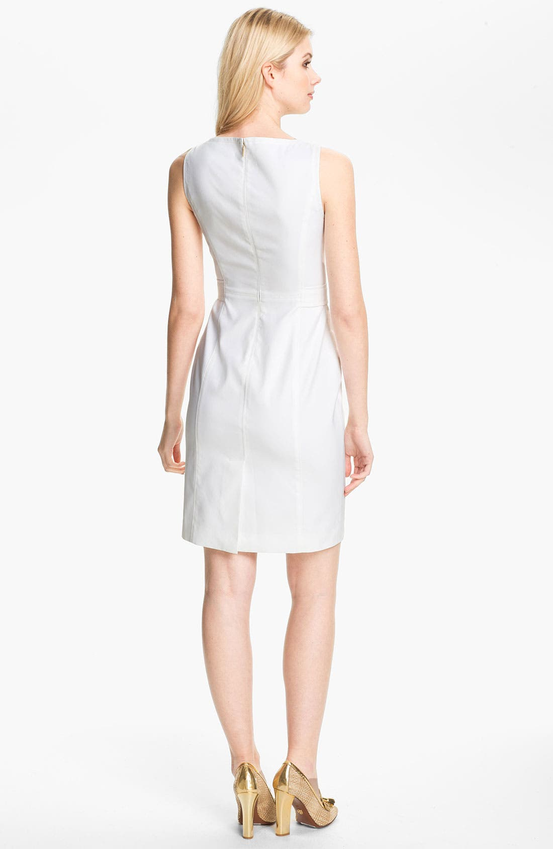 TORY BURCH, 'Tayler' Stretch Sheath Dress, Alternate thumbnail 2, color, 100