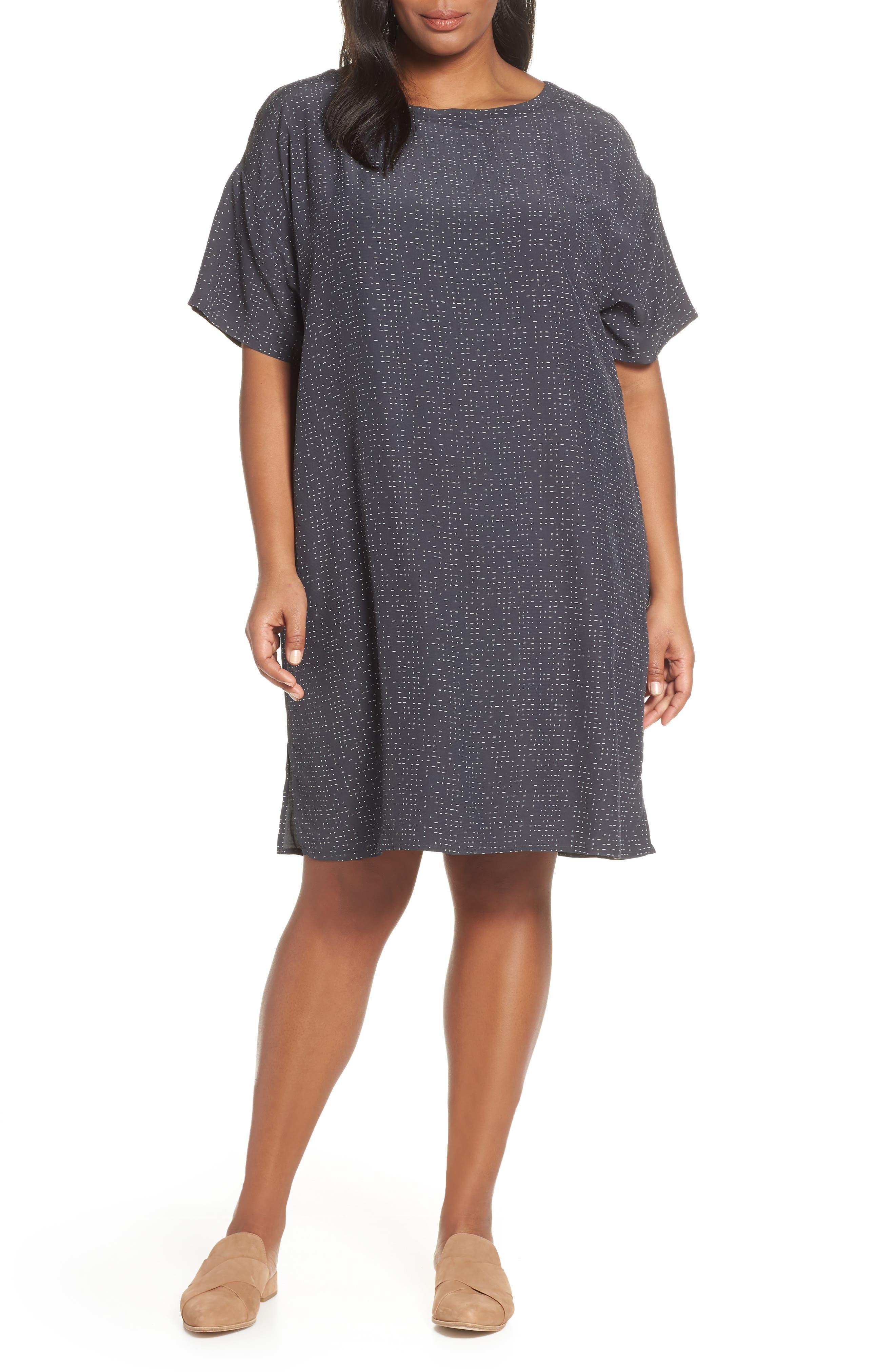 Plus Size Eileen Fisher Bateau Neck Shift Dress, Grey